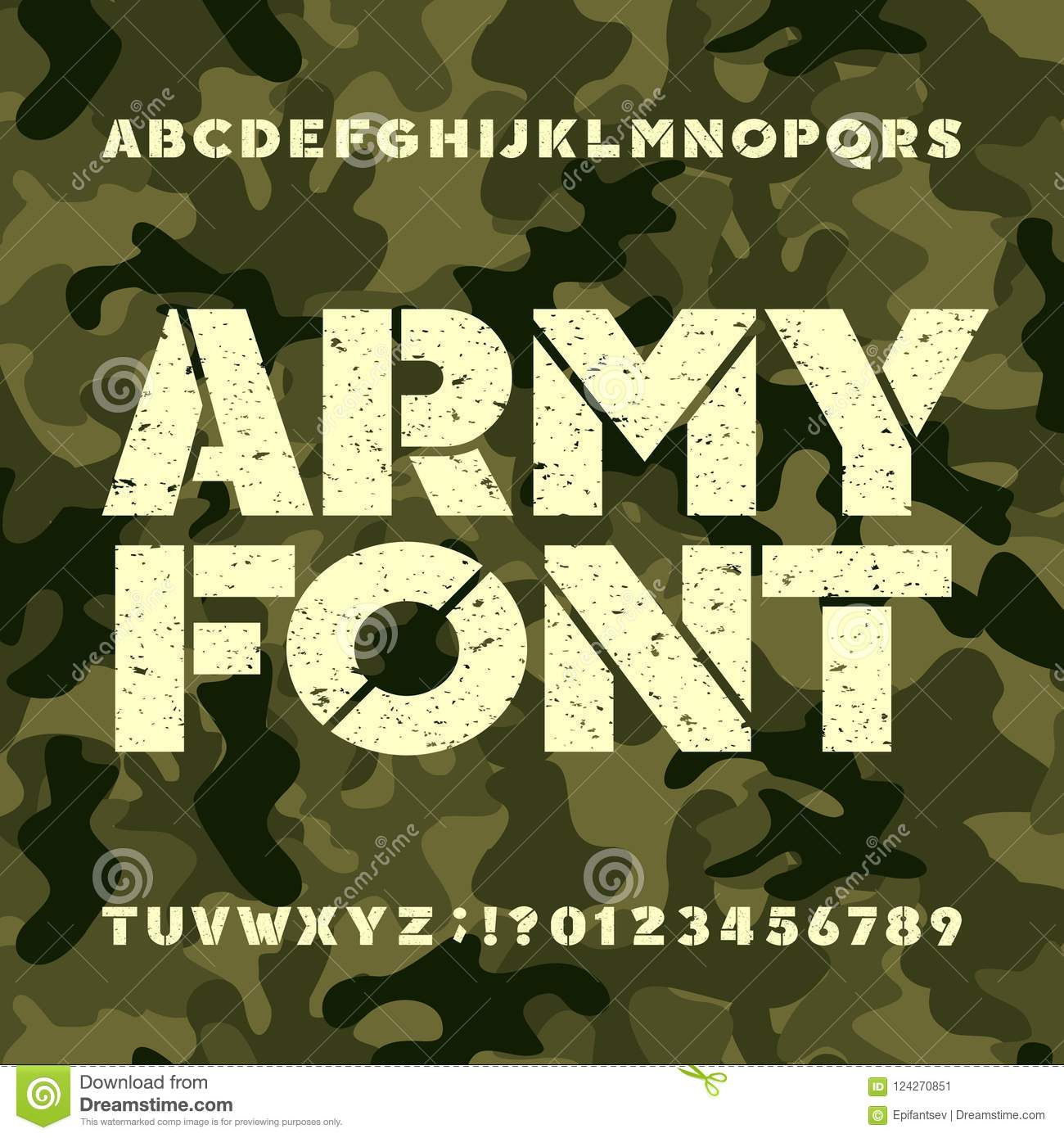 Army Stencil Alphabet Font Grunge Bold Letters And Numbers On