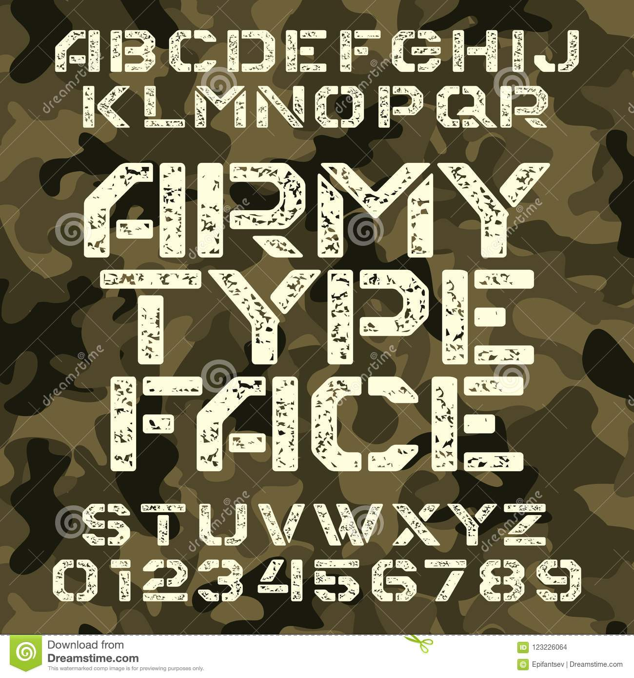 Army Stencil Alphabet Font Grunge Type Letters And Numbers On