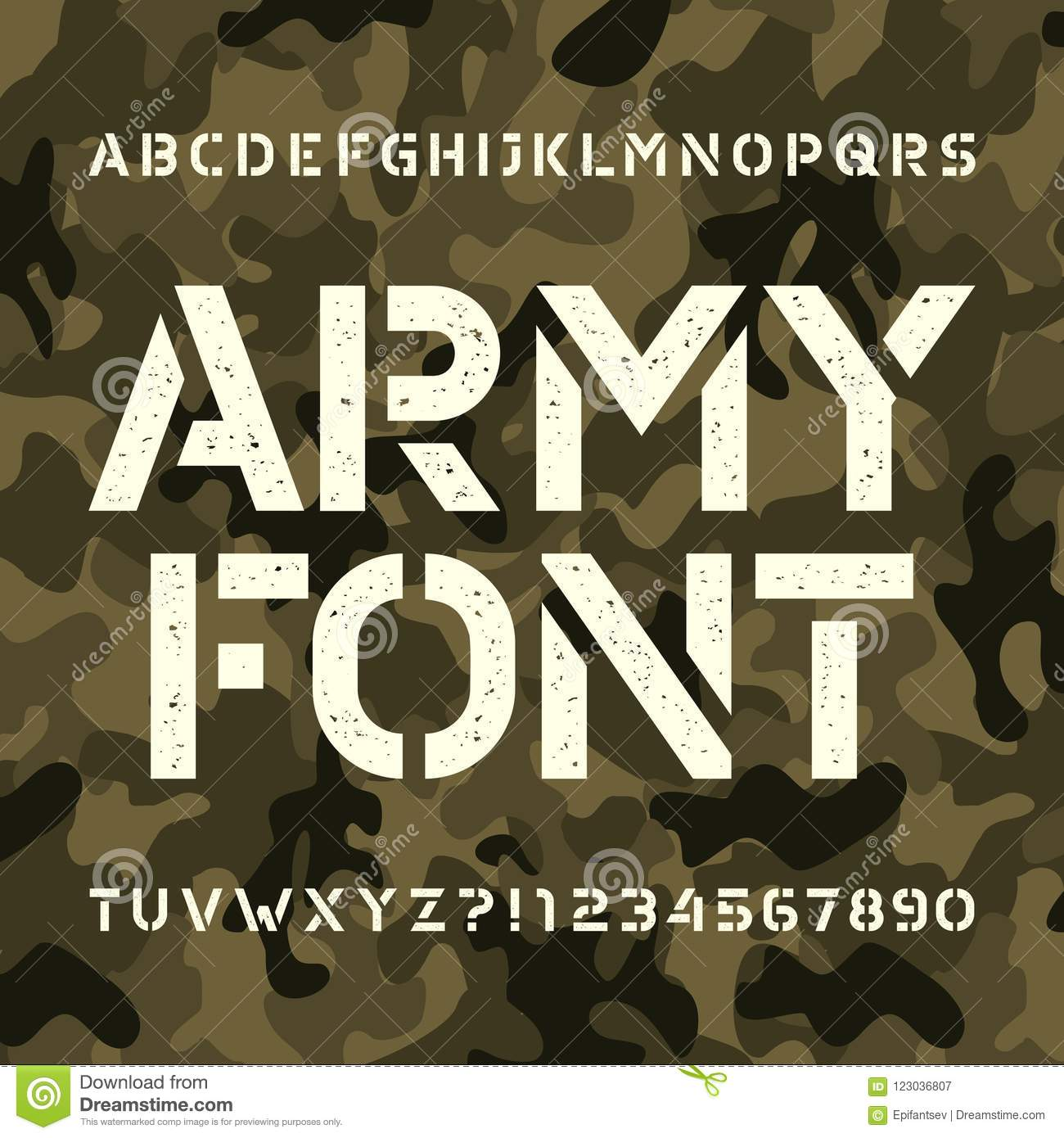 Army Stencil Alphabet Font. Messy Type Letters And Numbers