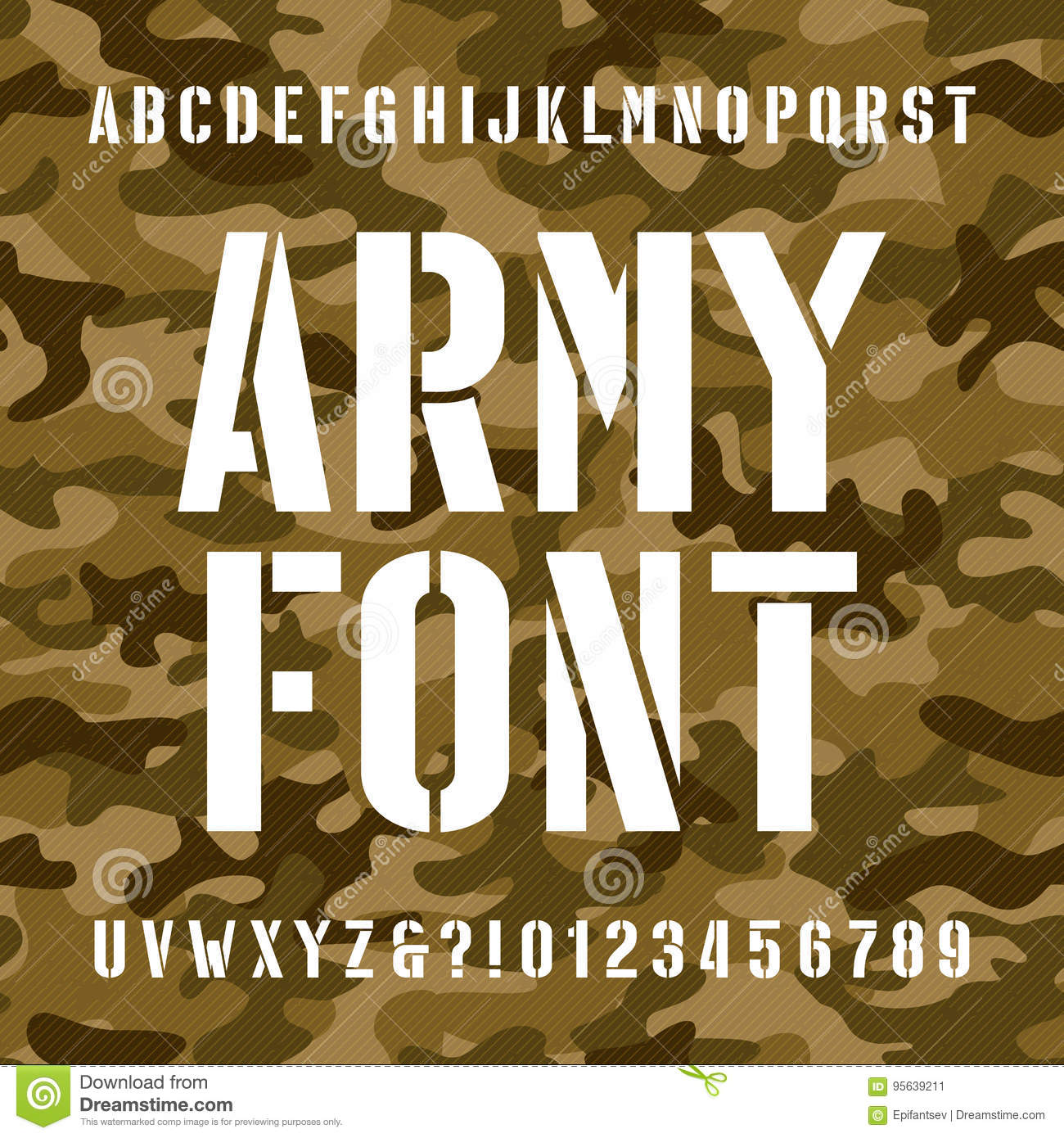 Army Stencil Alphabet Font. Type Letters And Numbers On