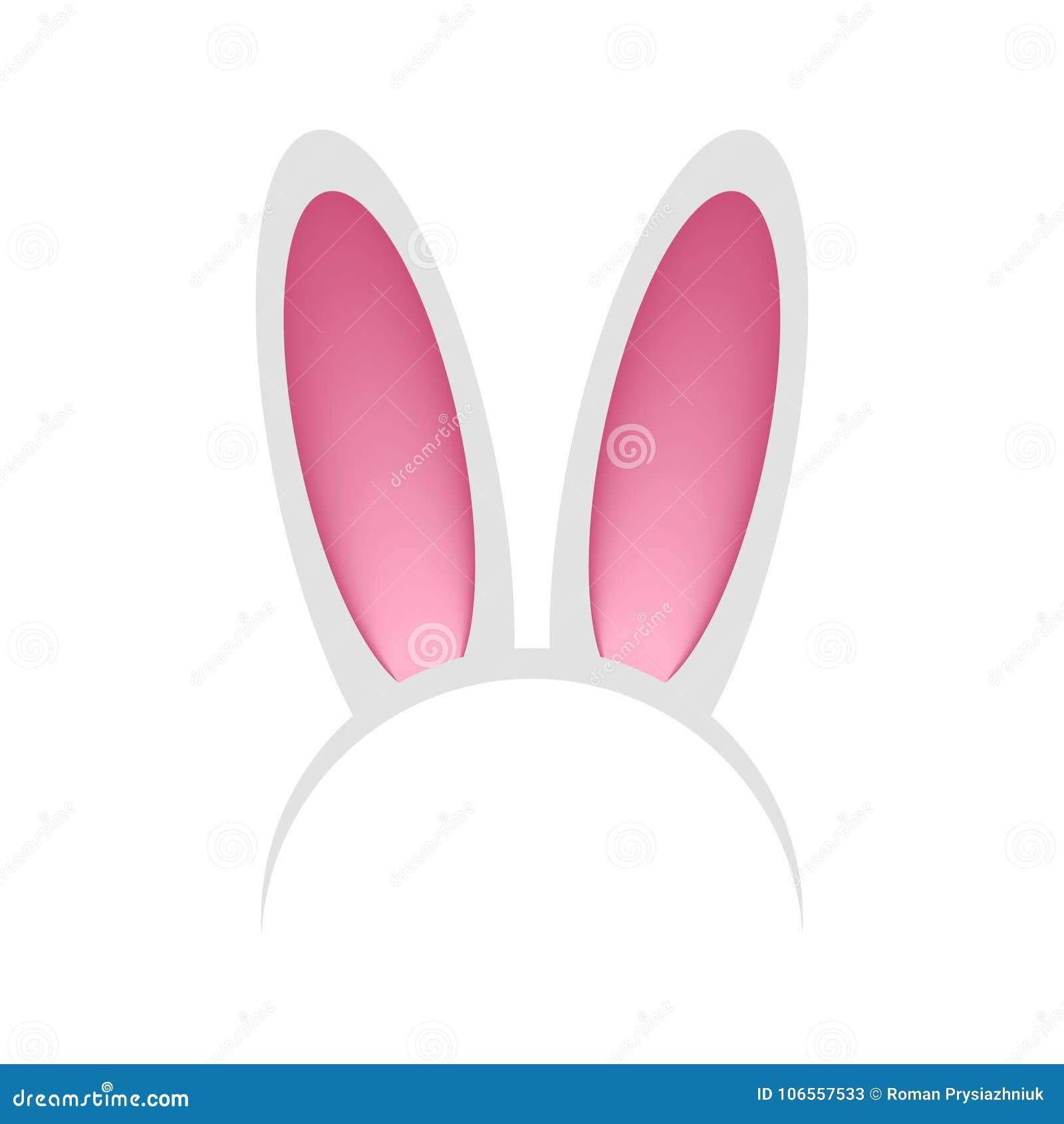 Aro principal com as orelhas do coelho ou da lebre Faixa - máscara do coelho para a celebração, partido, festival, Páscoa Vetor