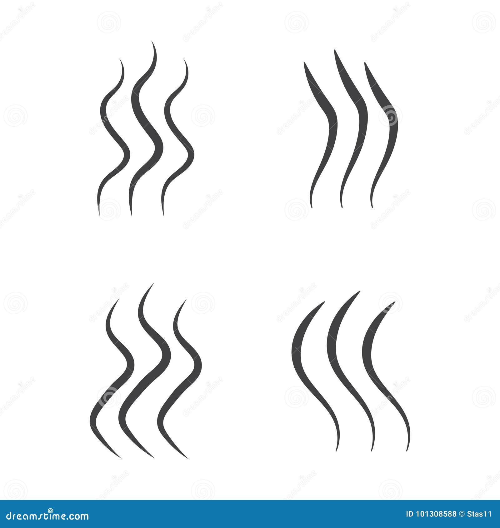 Aroma do cheiro e grupo do sinal do calor Ilustração conservada em estoque do vetor do odor e do perfume ou silhuetas quentes do