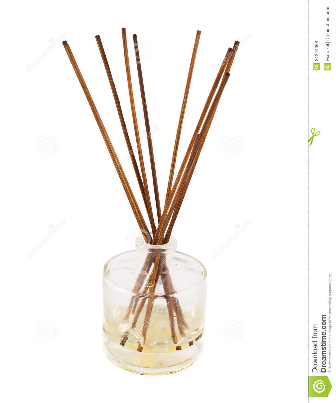 Aroma Sticks In A Glass Flask Isolated Stock Photo Image