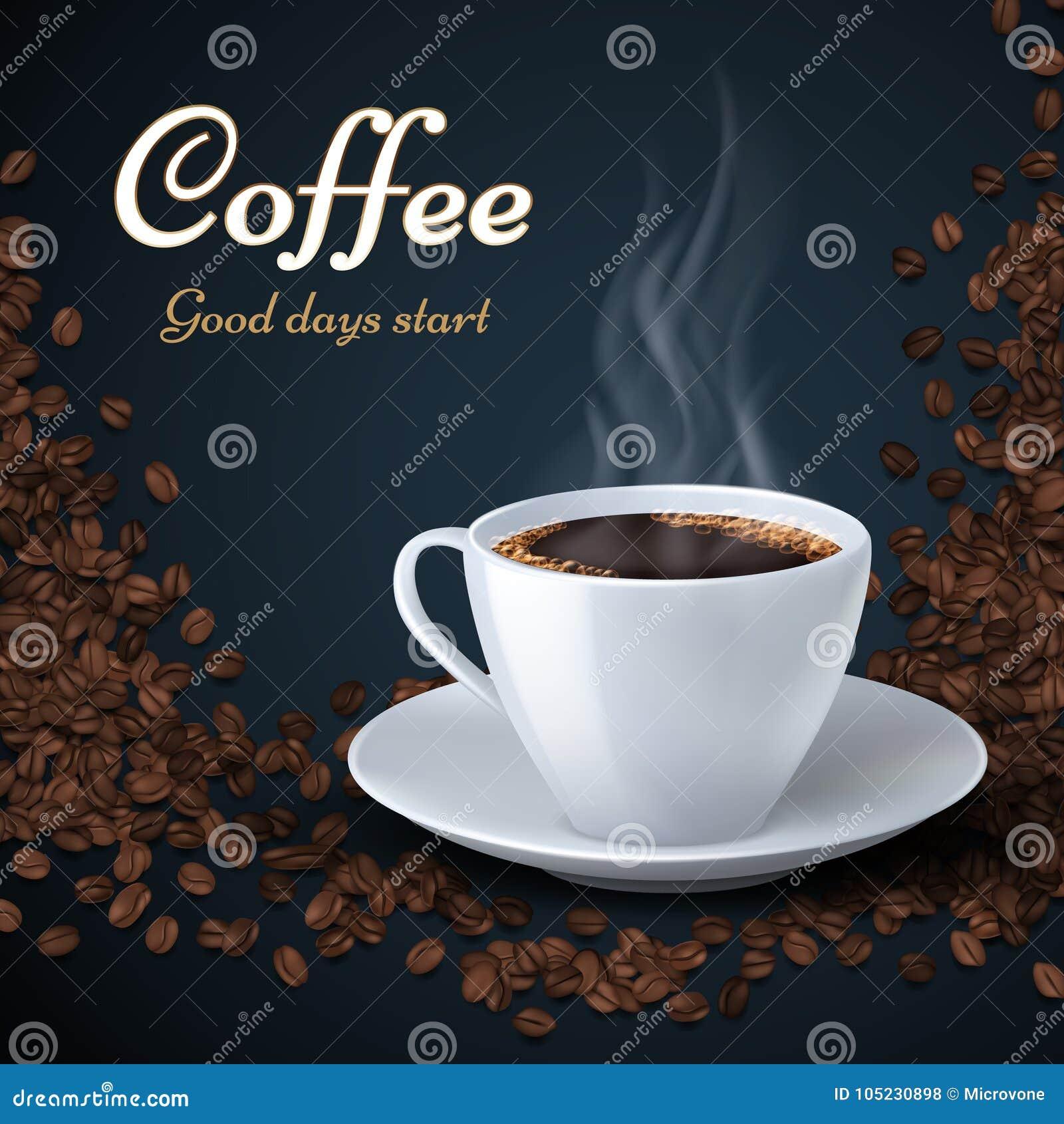 Aromat kawowe fasole i filiżanka gorąca kawa Produkt reklam wektoru tło