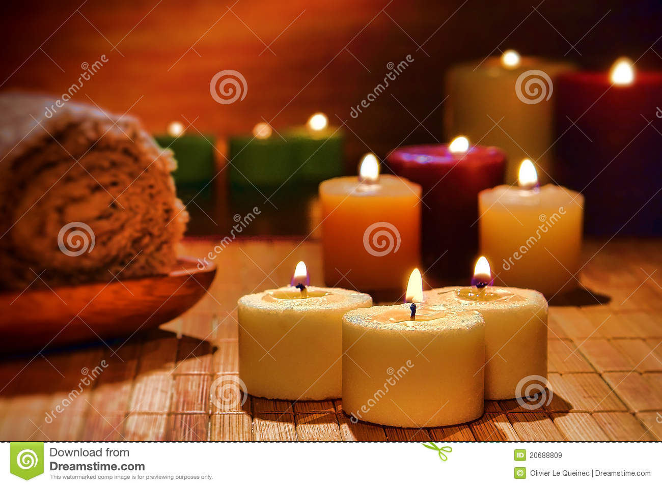 Aromatherapy Candles Spiritual Relaxation in a Spa