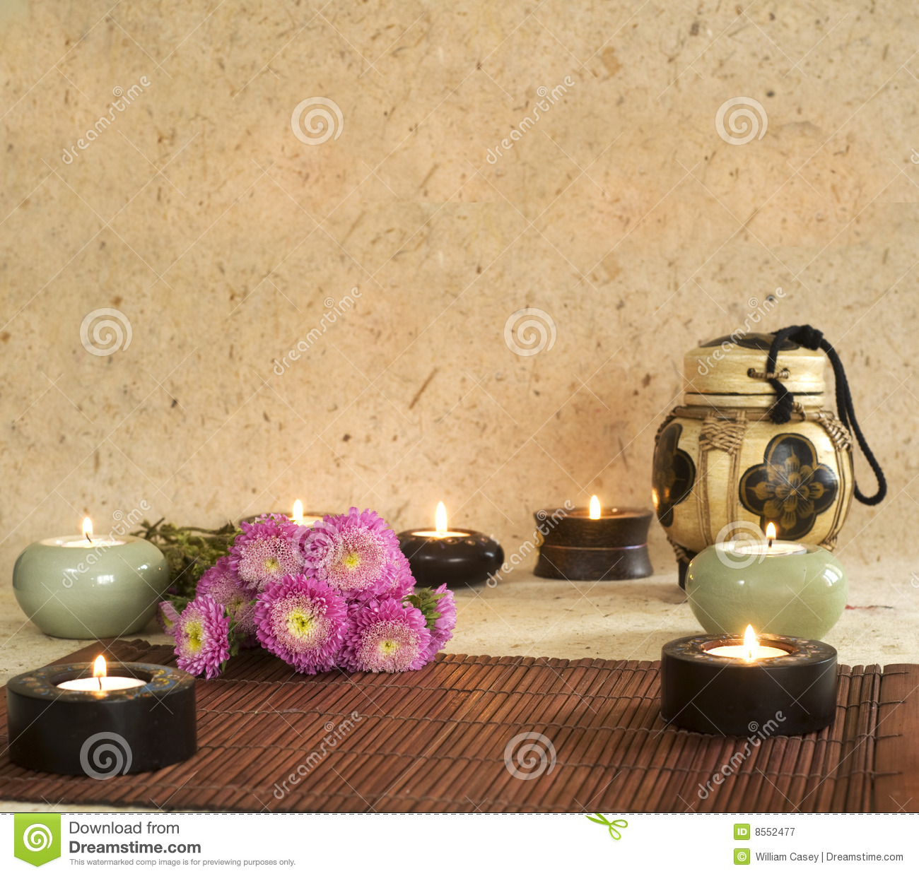 Aromatherapy Candles With Textured Background Royalty Free