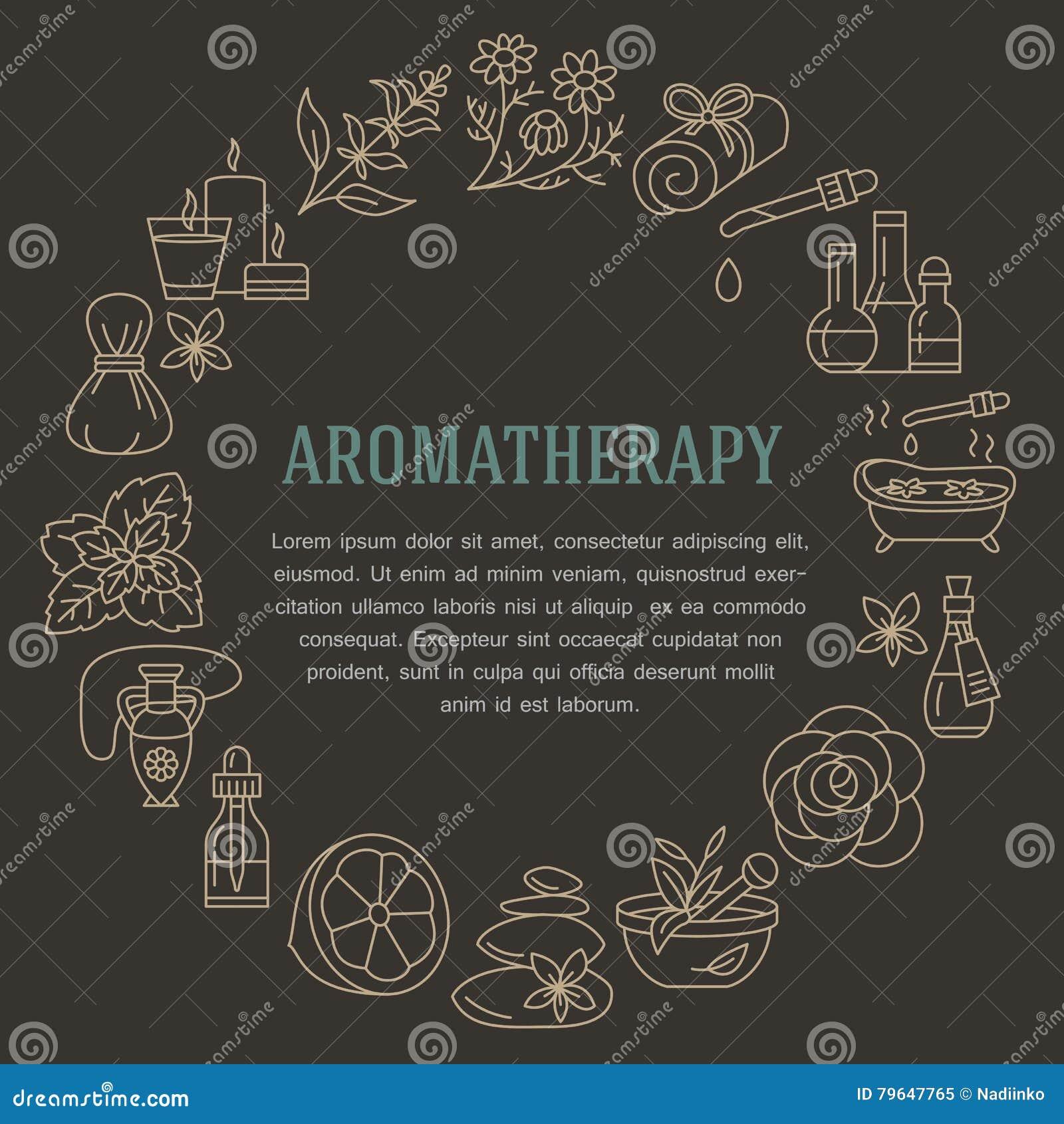 Aromatherapy en van de etherische oliënbrochure malplaatje Vectorlijnillustratie van aromatherapy verspreider, oliebrander, kuuro