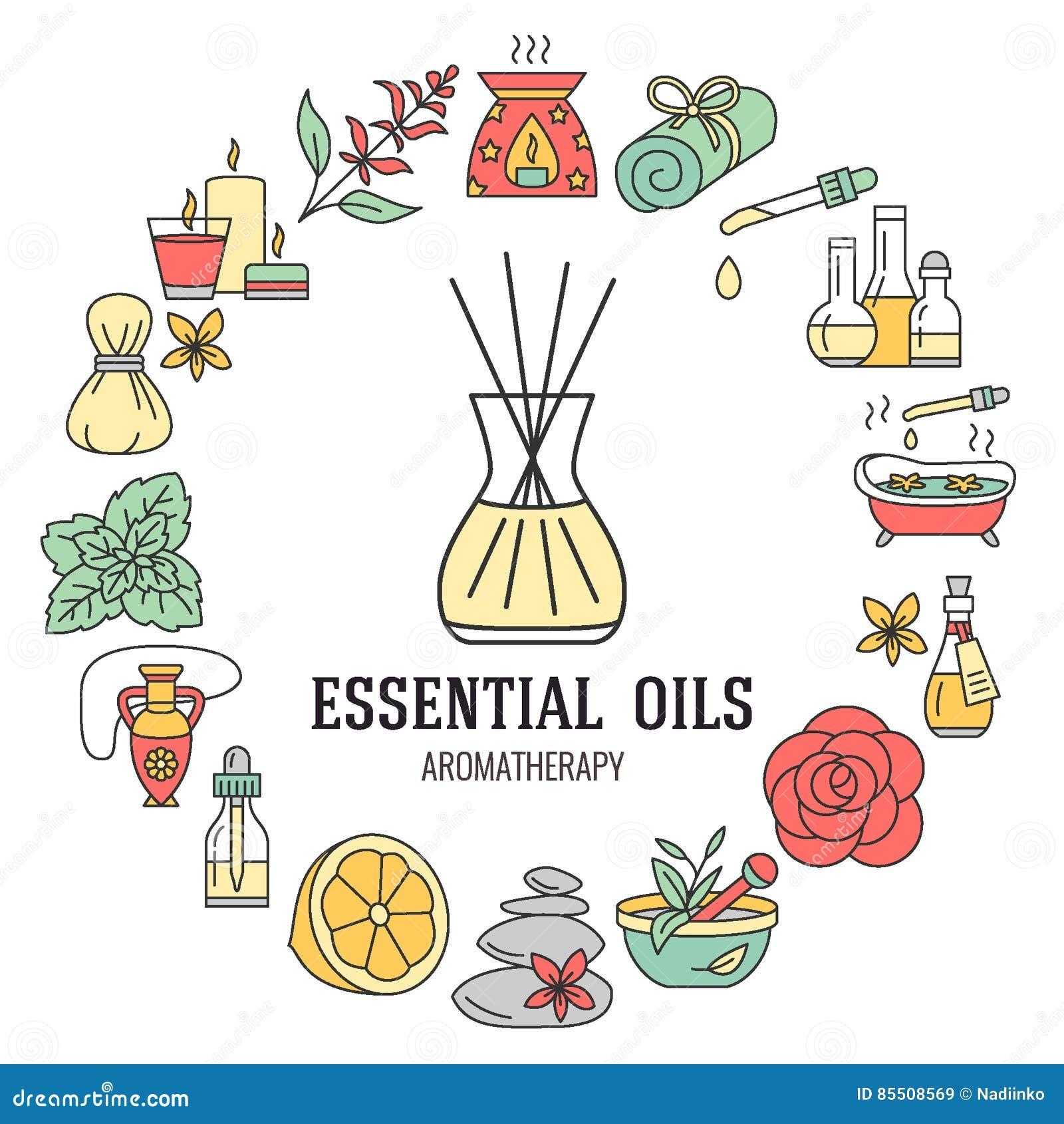 Aromatherapy en van de etherische oliënbrochure malplaatje Vectorlijnillustratie van verspreider, oliebrander, kuuroordkaarsen