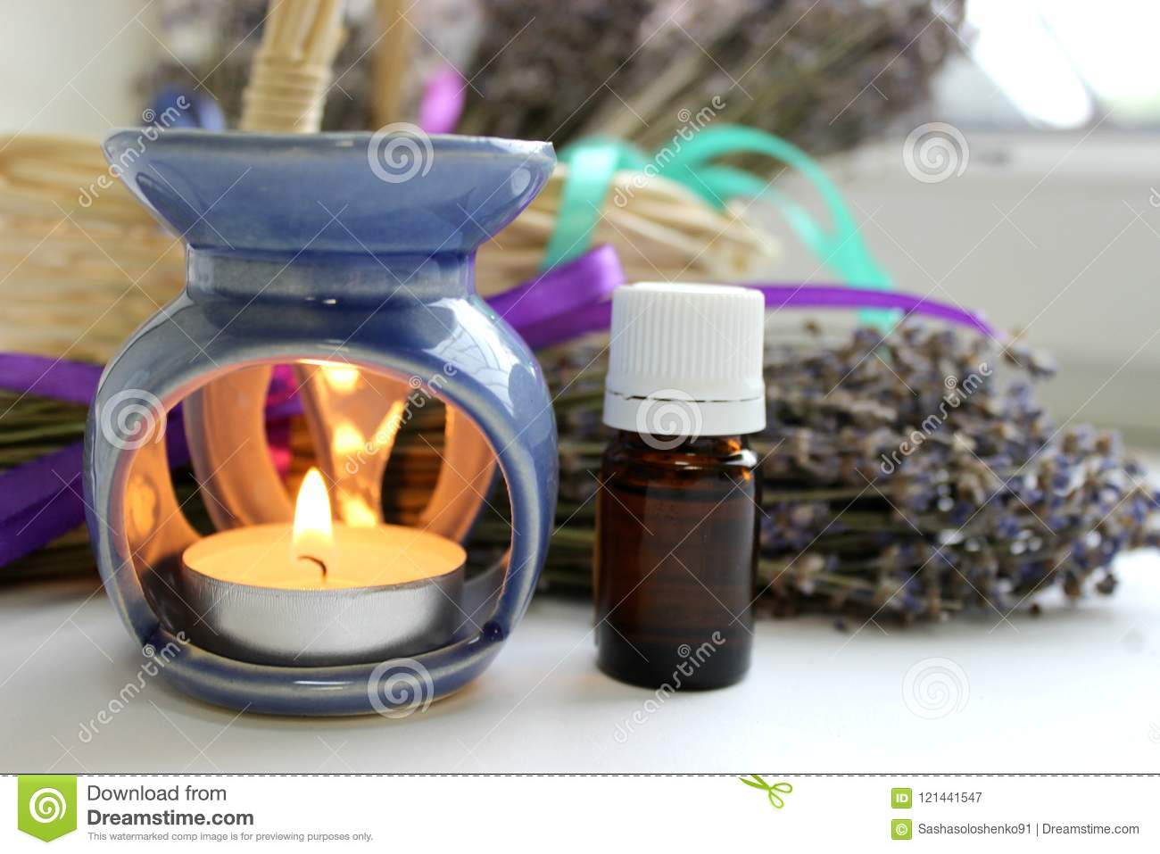 Aromatherapy Essential Oil And Lavender Flowers Stock Image Image Of Pitcher Lavender 121441547