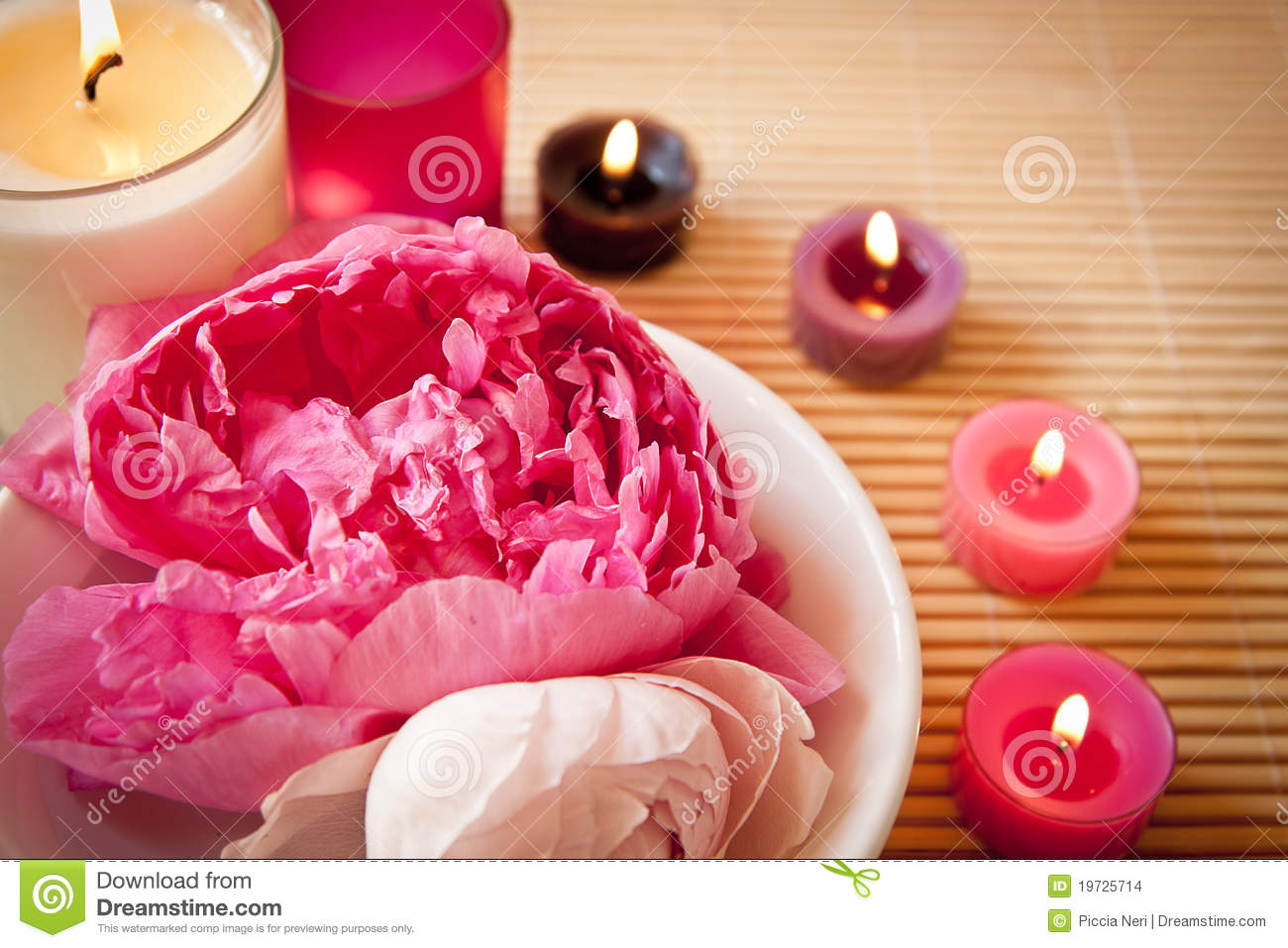 Aromatherapy Flowers And Candles Landscape Stock Images