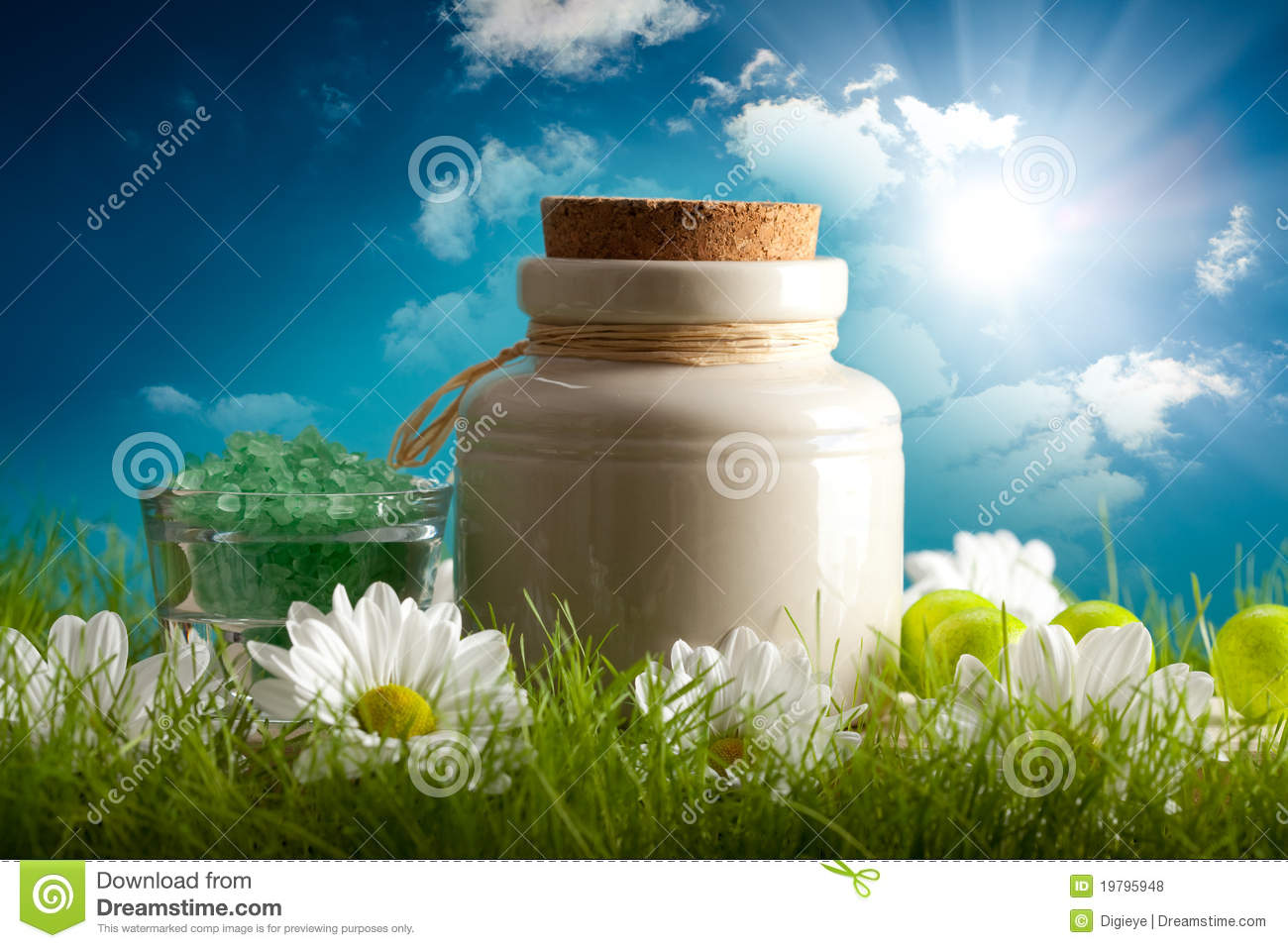 Aromatherapy Minerals On Nature Background Royalty Free