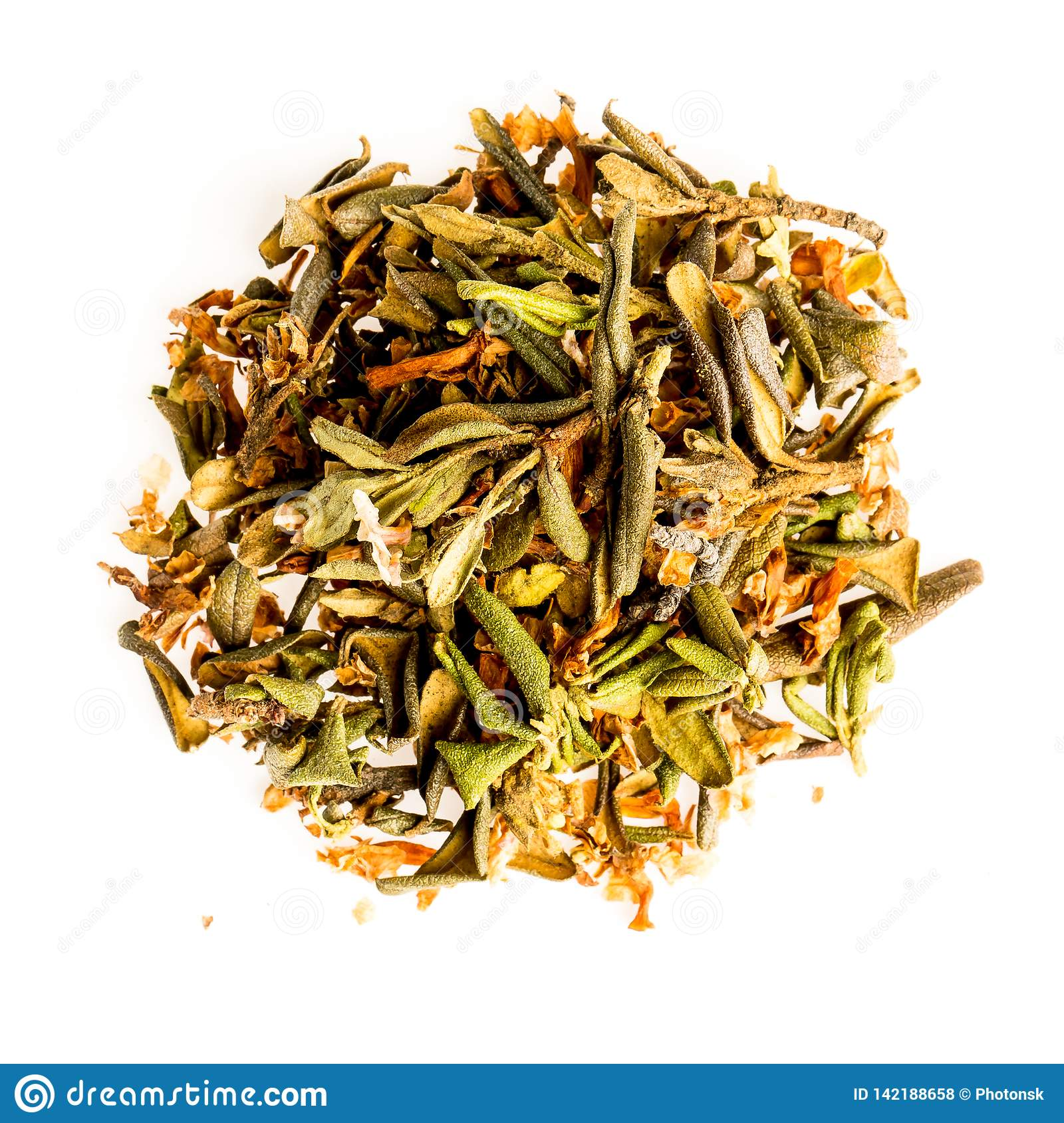Aromatic crumbly Handful of Dry tea leaves isolated on white background. Green and black dry tea, isolated on white