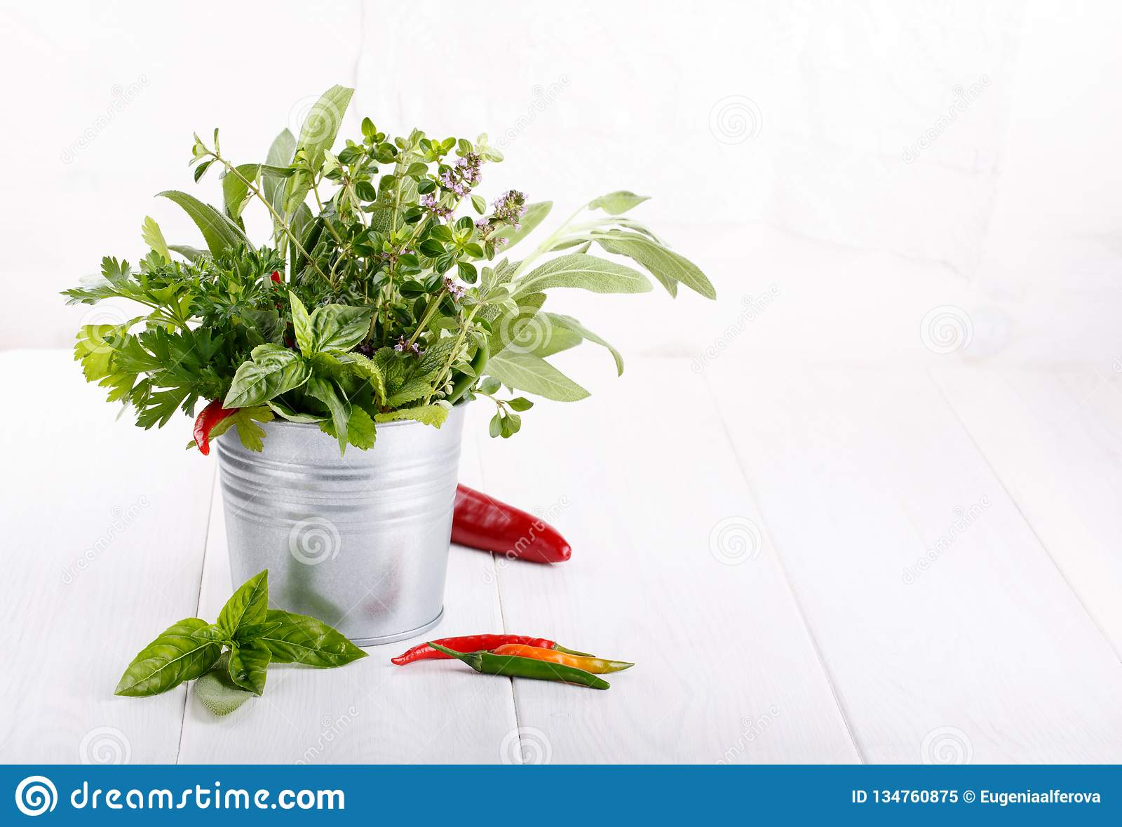 Aromatic herbs and spices from the garden