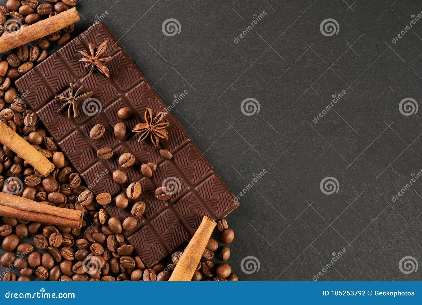 aromatic set of chocolate bar arabica coffee beans stock