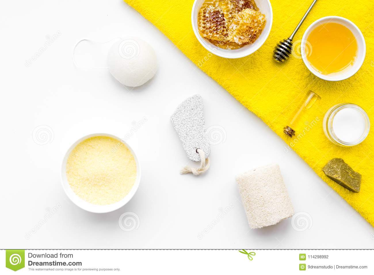 Aromatic theraphy and delicate skin care. Spa set based on honey on white background top view