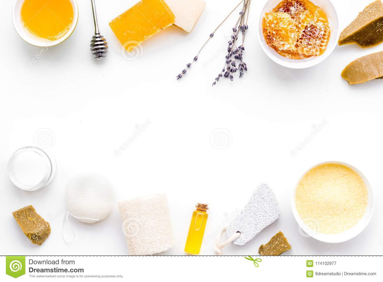 Aromatic theraphy and delicate skin care. Spa set based on honey on white background top view copy space