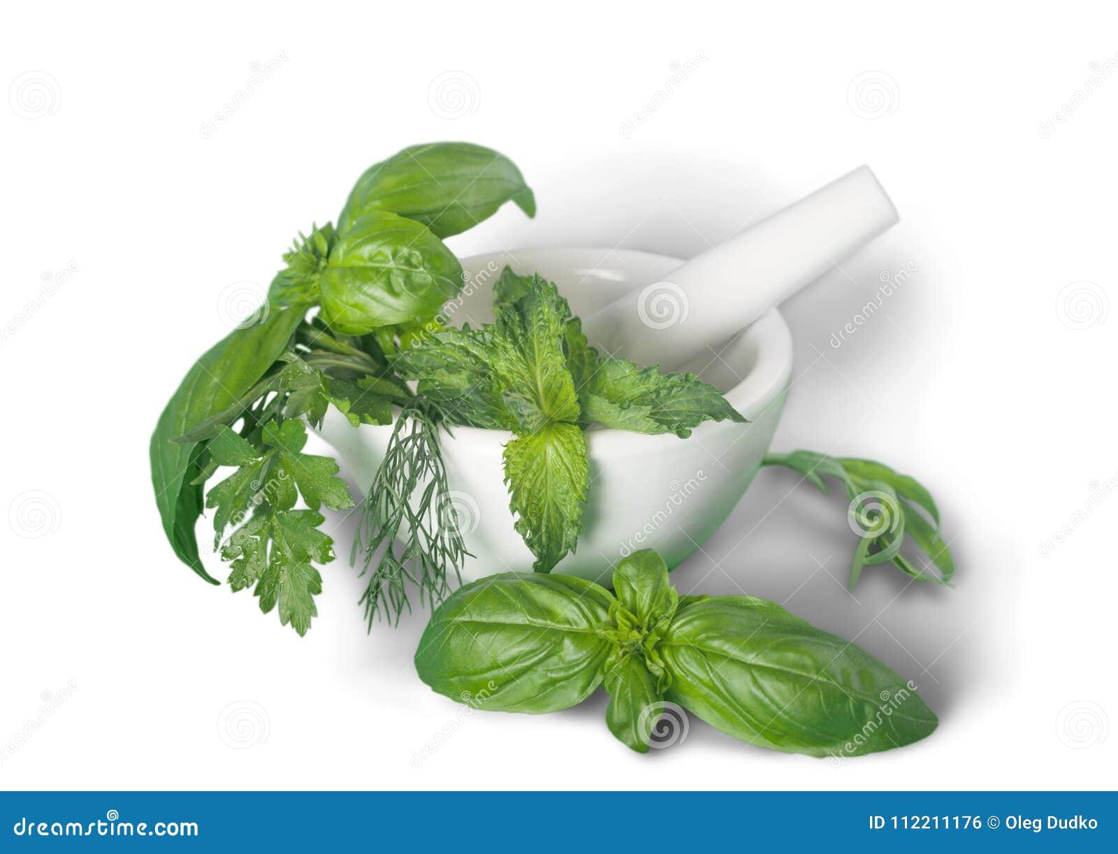 Aromatische Grüne Kräuter Im Keramischen Mörser Auf Tabelle