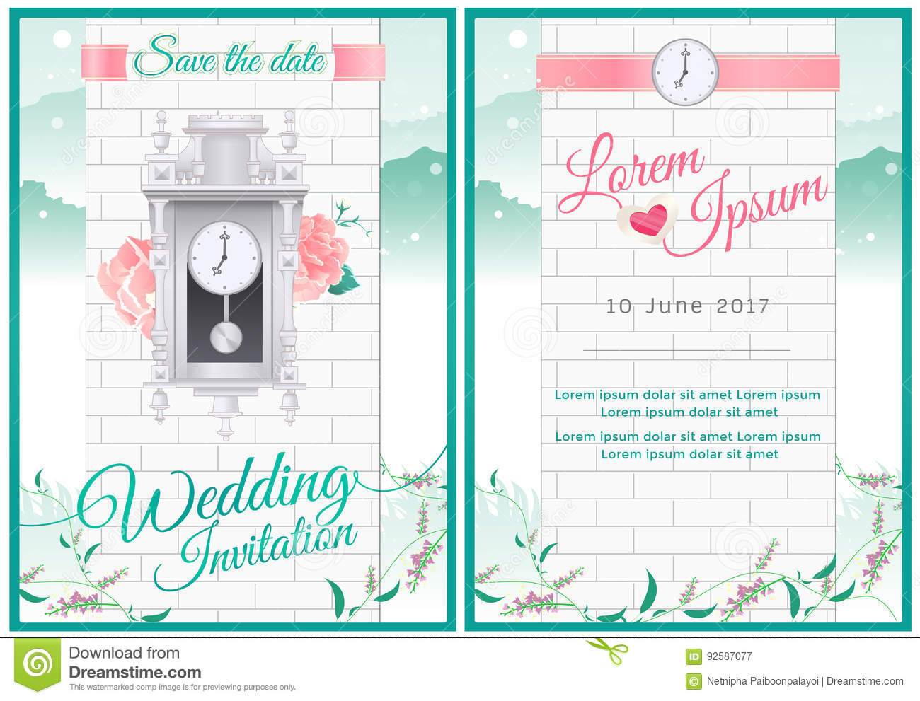 Around The Clock Wedding Card Invitation With Green Nature And V ...