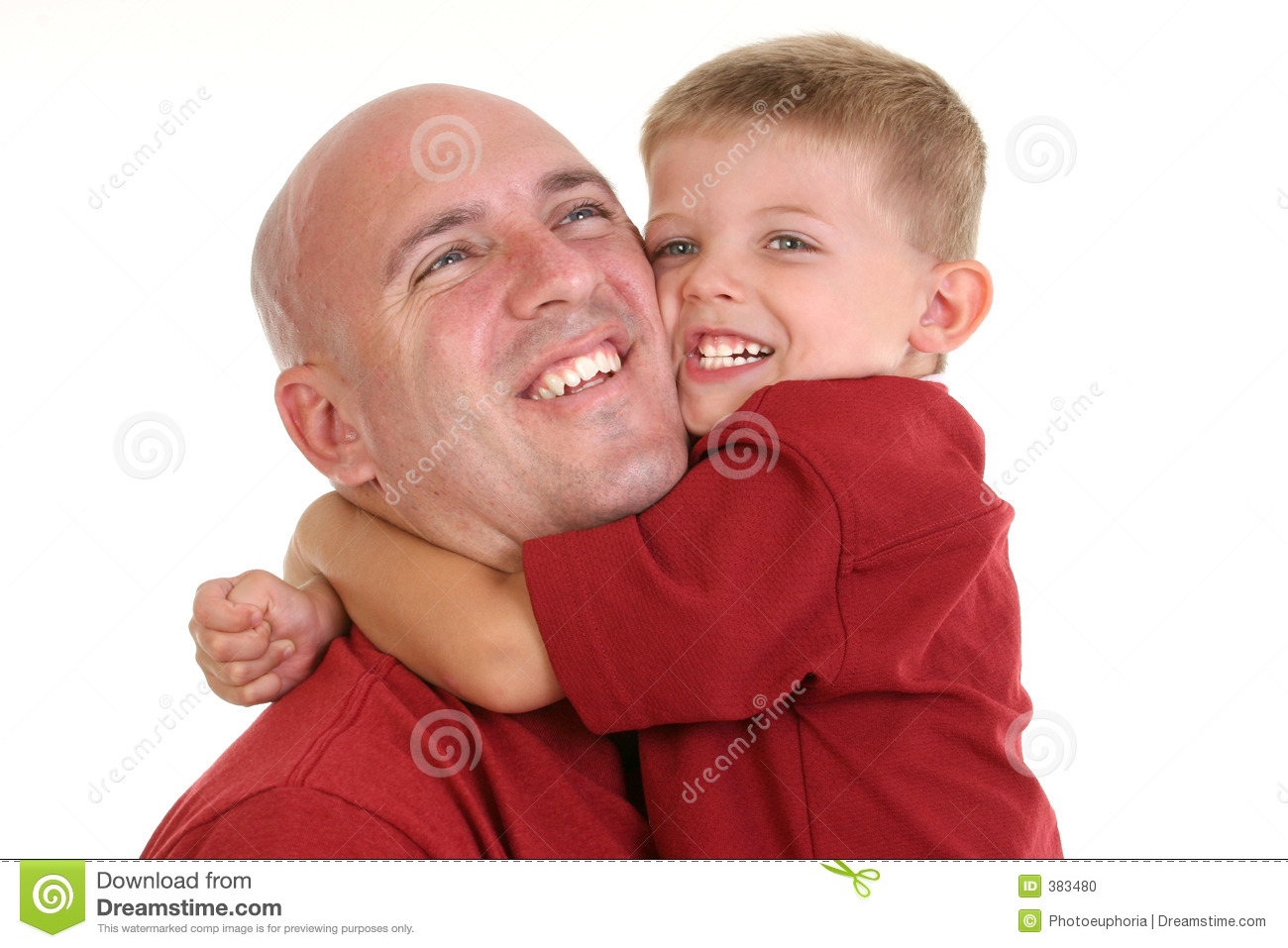 Around dad hugging neck son