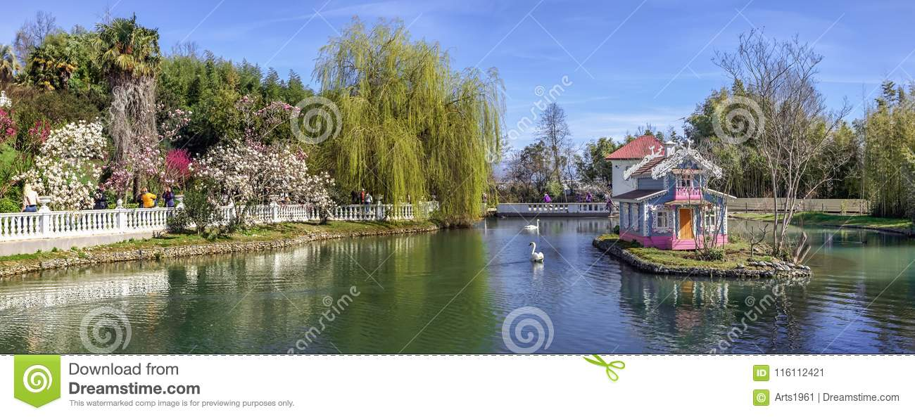 ADLER, RUSSIA - March 17, 2018: Pond in park Southern cultures.