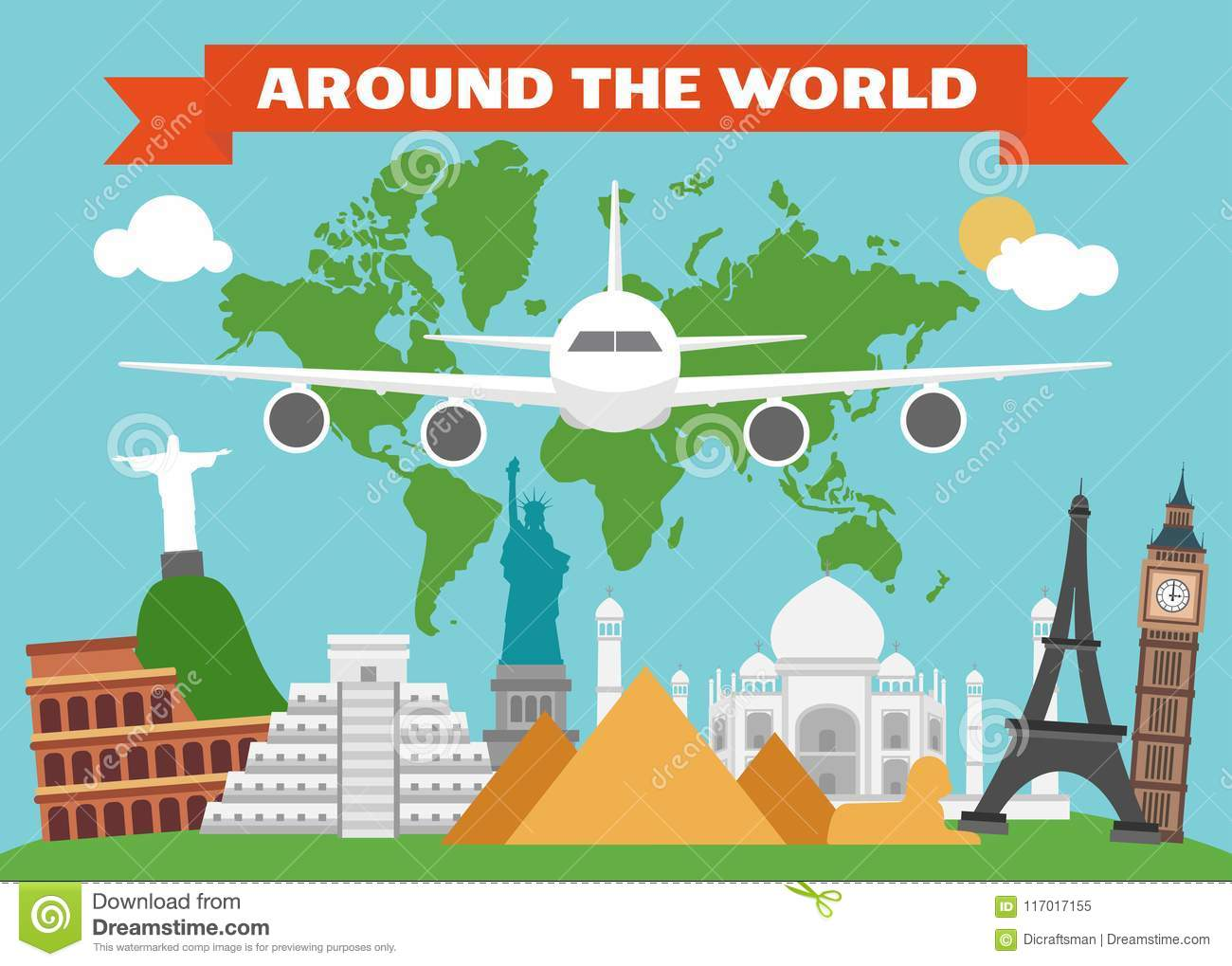 Around The World Flat Design With Map Land Stock Vector