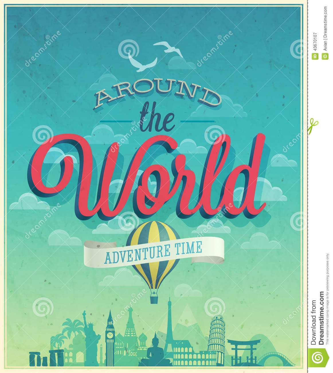 Summer travel card in retro style vintage vacation postcard with - Around The World Poster Stock Vector Image 43670107