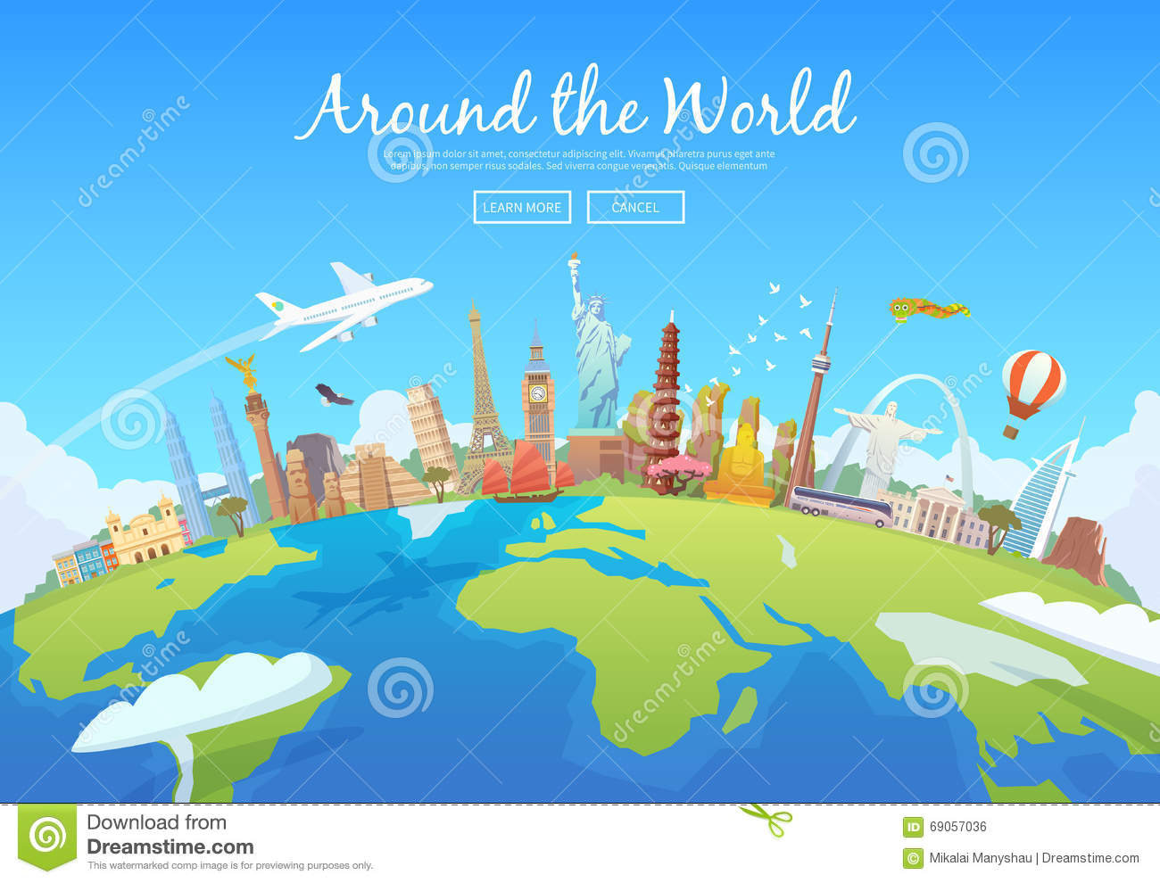 Around the world stock vector image of summertime cruise for Cost of world cruise