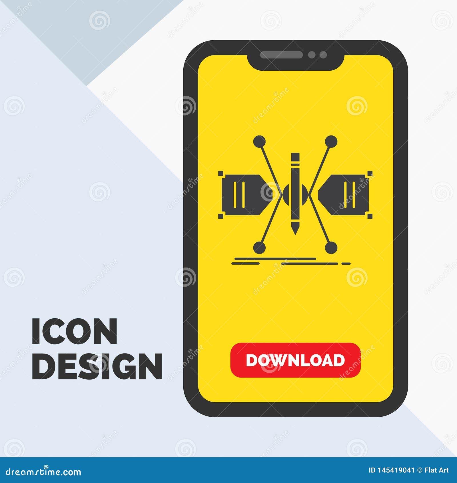 Arquitecto, construyendo, rejilla, bosquejo, icono del Glyph de la estructura en el móvil para la página de la transferencia dire
