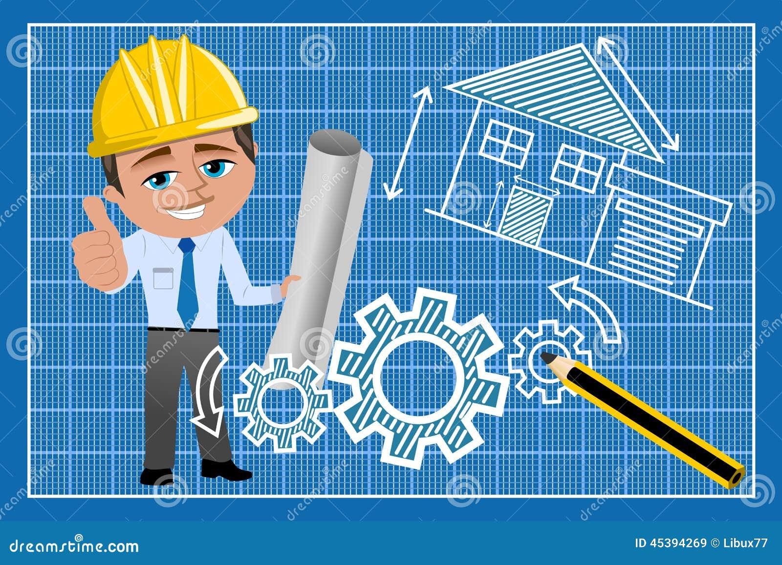 Arquitecto thumb up blueprint del hombre ilustraci n del for Todo para el arquitecto