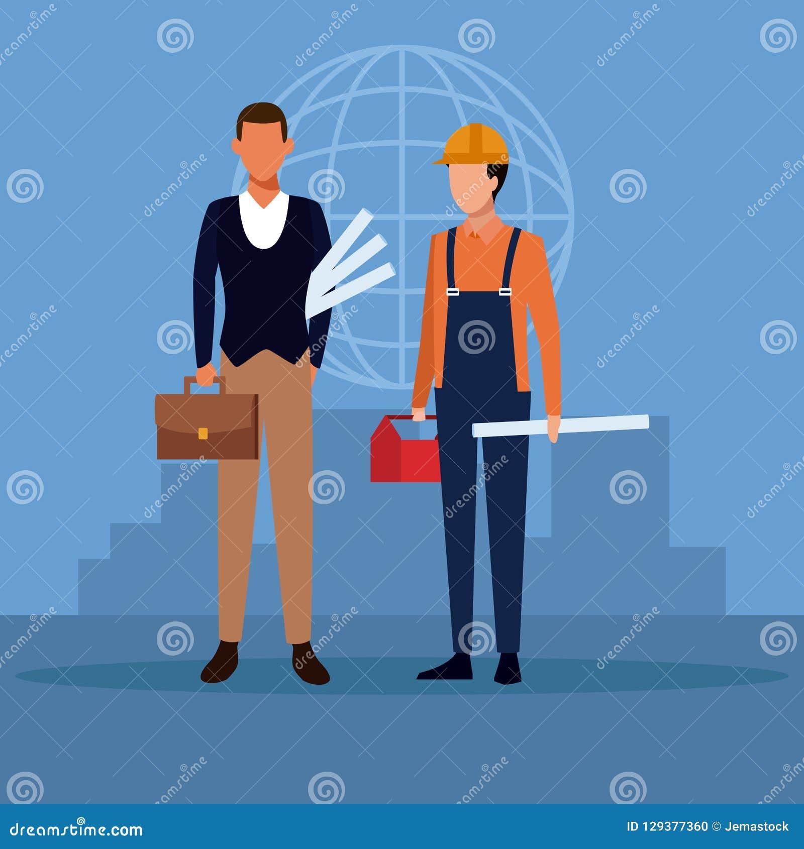 Arquitecto y trabajo en equipo de la construcción