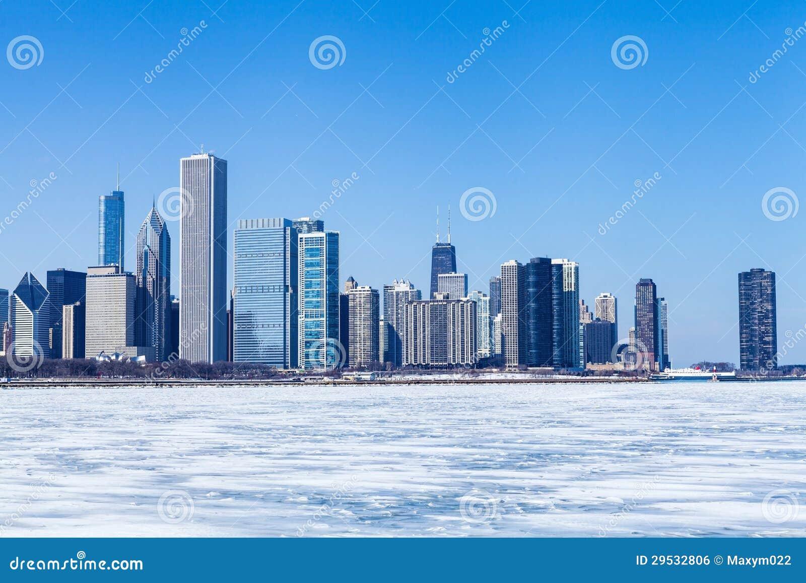 Arquitectura da cidade de Chicago no inverno