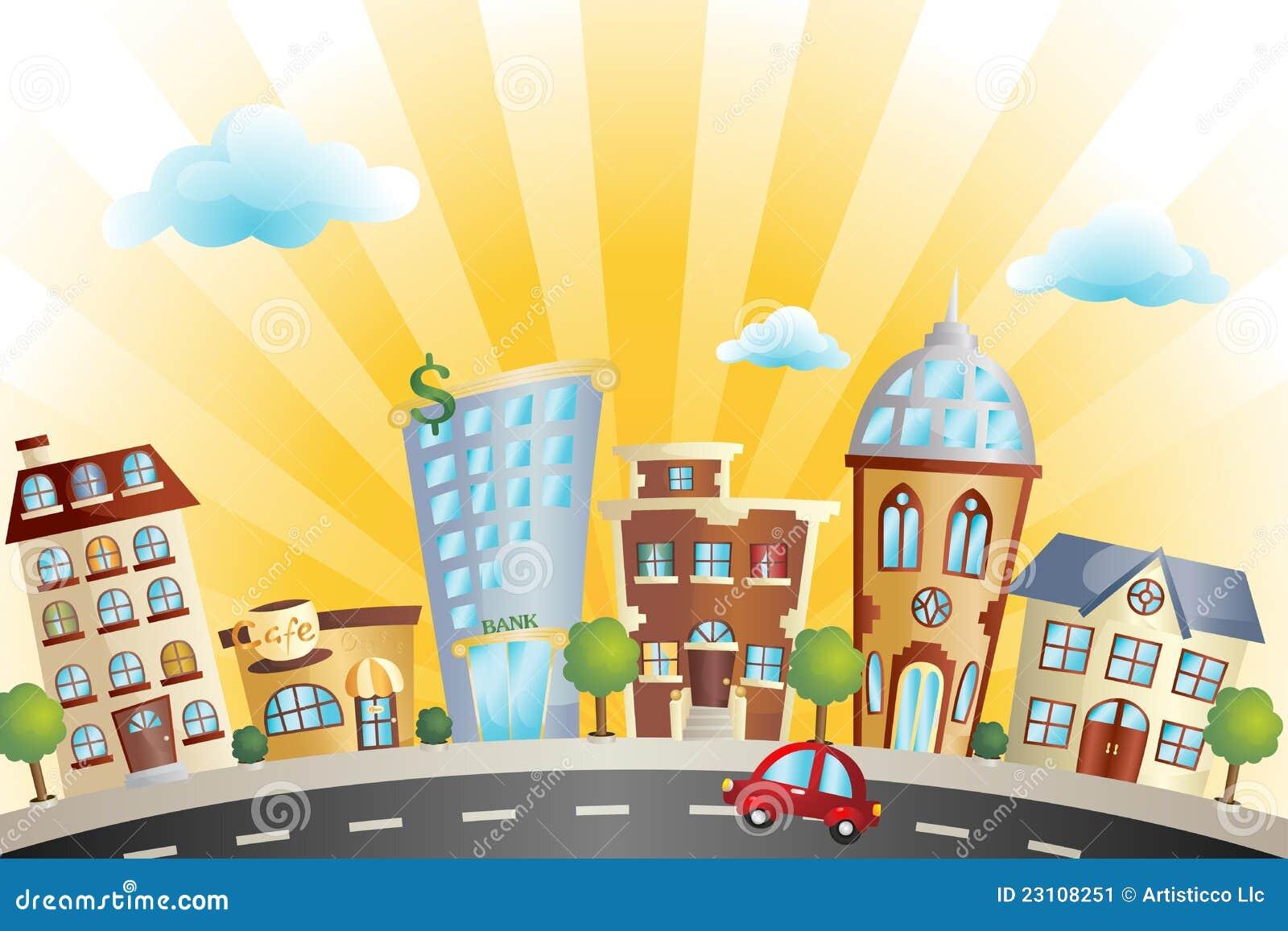 Arquitectura da cidade dos desenhos animados