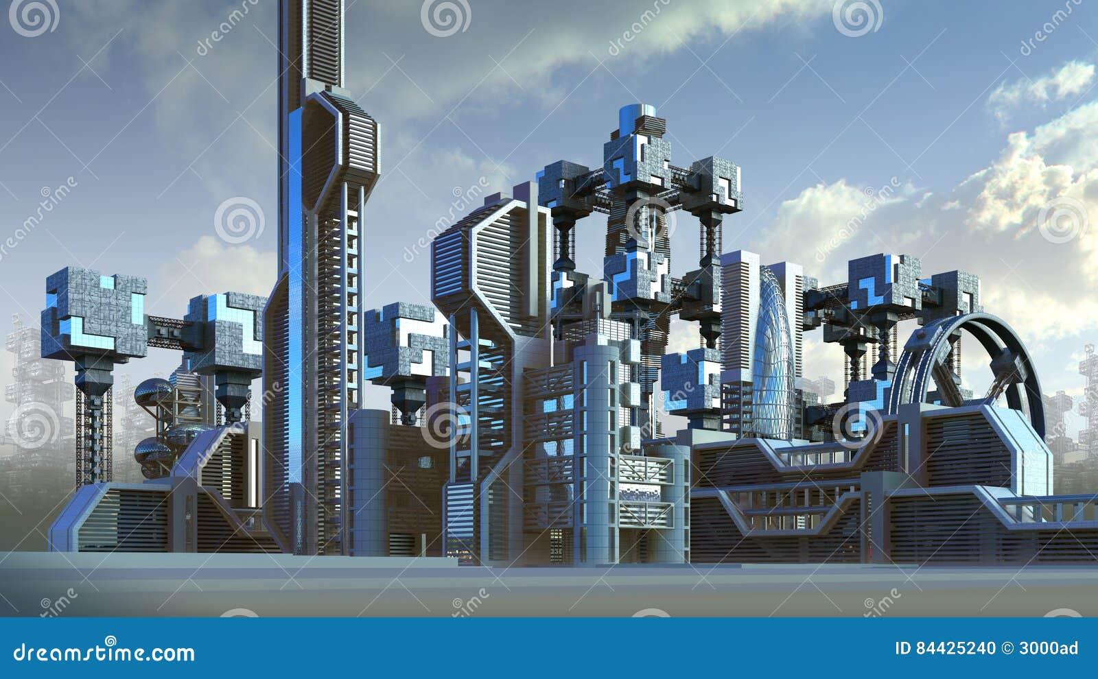 Arquitectura Futurista De Un Horizonte De La Ciudad Stock