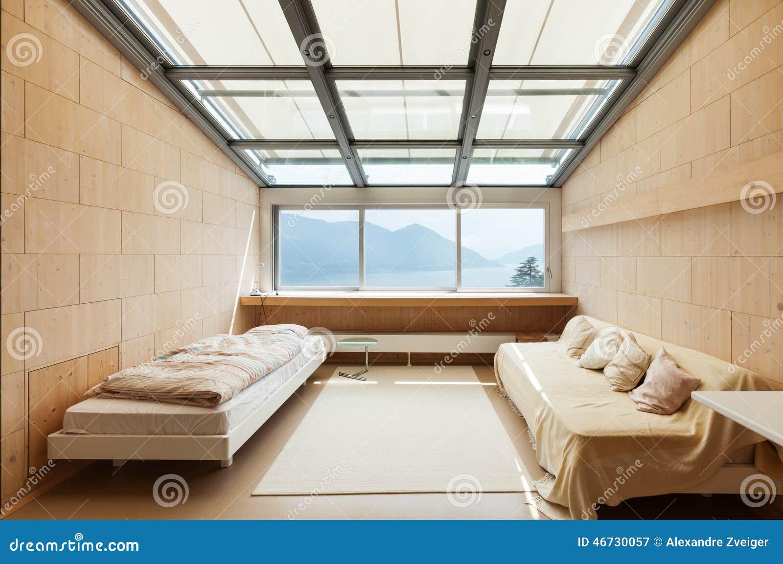 Arquitectura moderna, interior, dormitorio