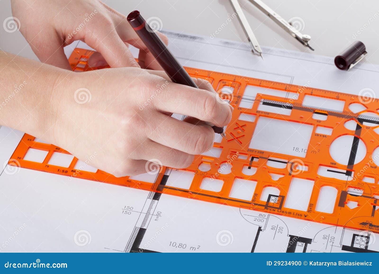 Download Arquiteto Que Faz O Projeto Foto de Stock - Imagem de architectural, medidas: 29234900