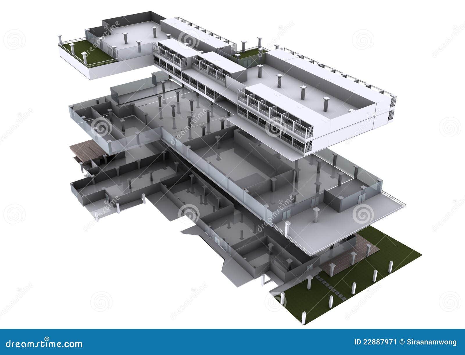 Arquitetura 3d explodida ilustra o stock ilustra o de for Architecture 3d vue 3d