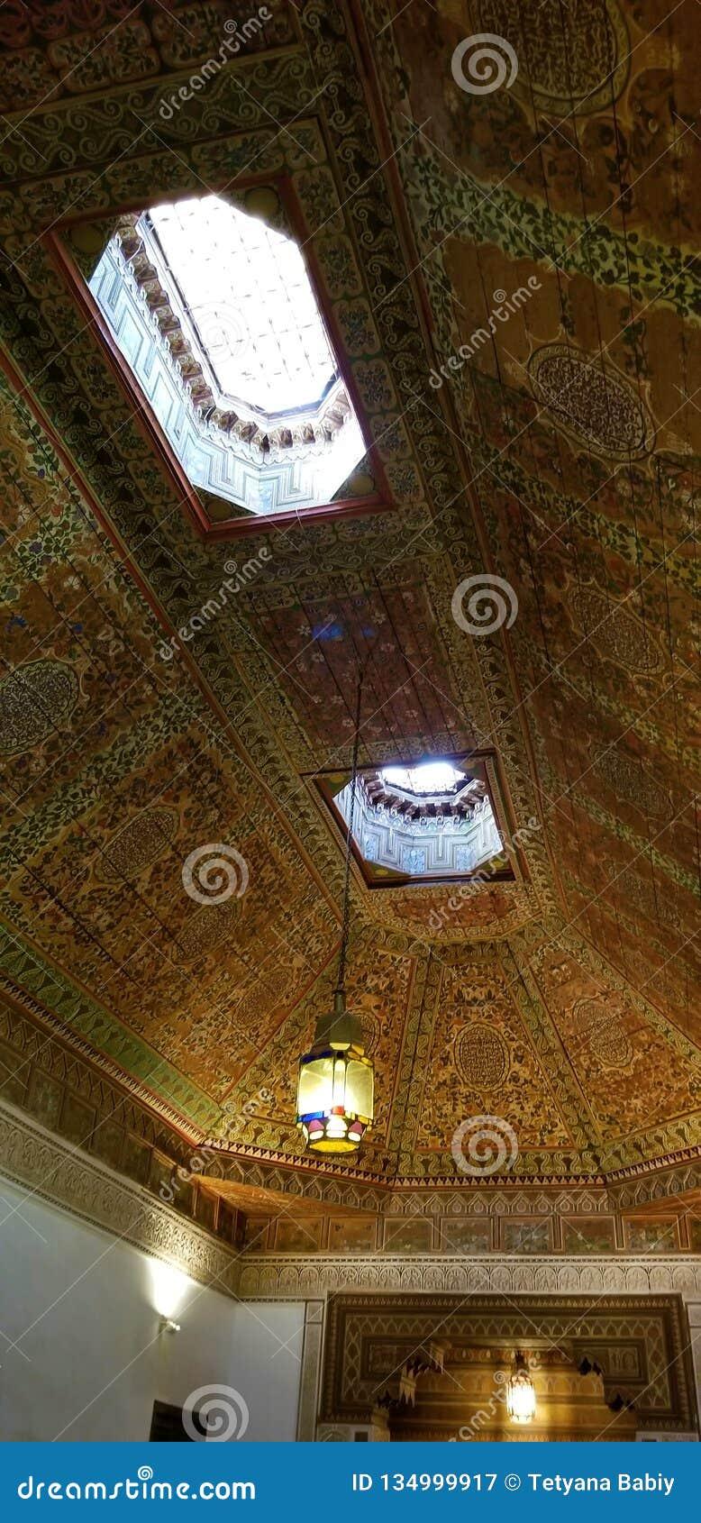 Arquitetura bonita e decoração de Bahia Palace Medina Marrakesh