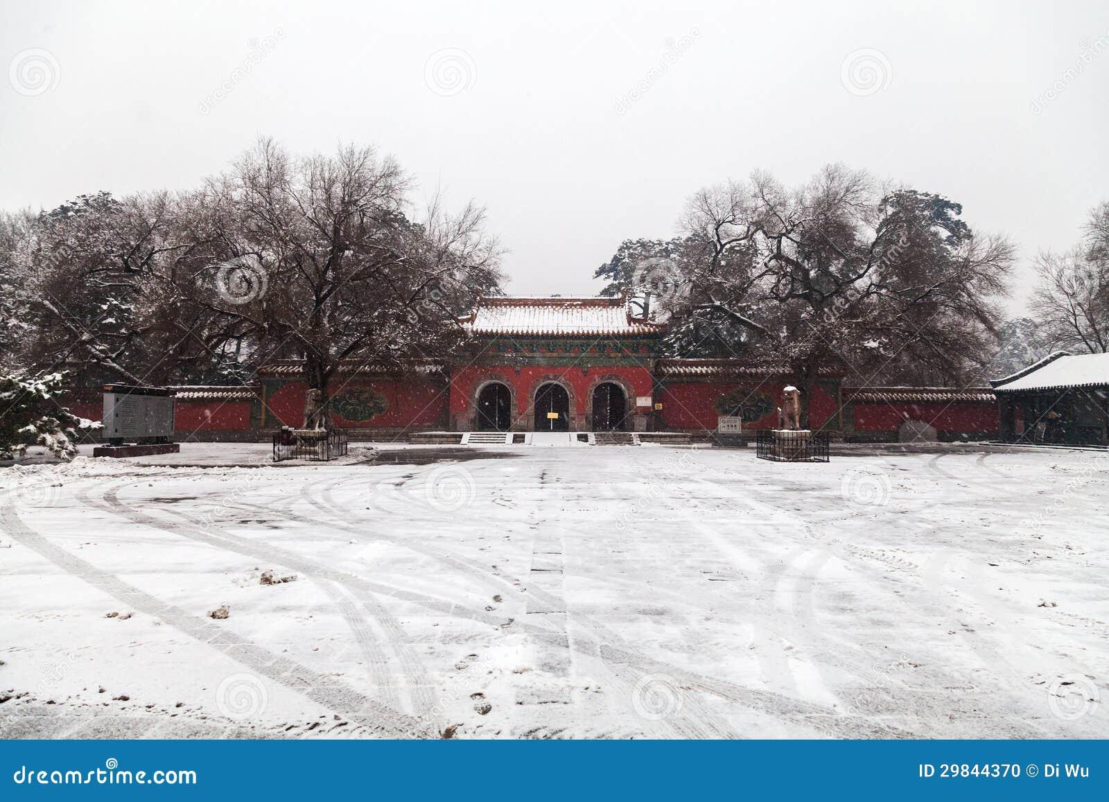 Arquitetura chinesa antiga no inverno