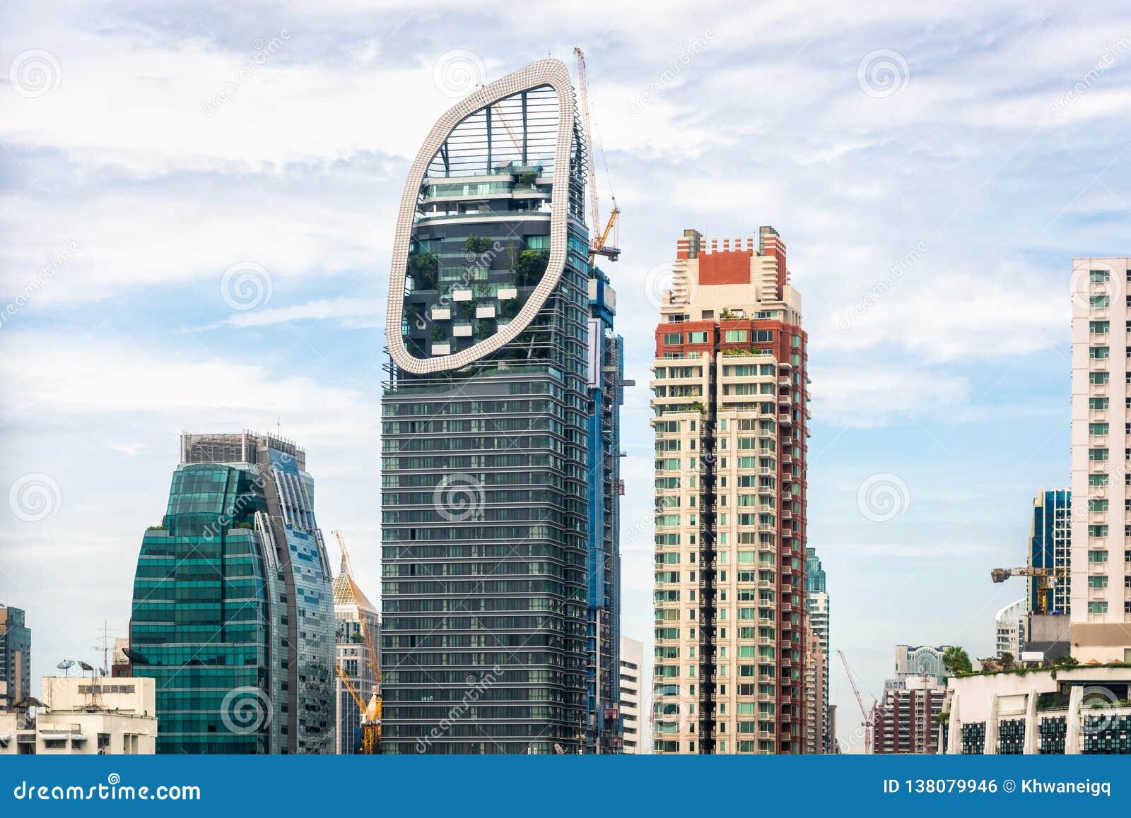 Arquitetura da cidade da cidade de Banguecoque e construções dos arranha-céus de Tailândia , Paisagem do negócio e centro finance