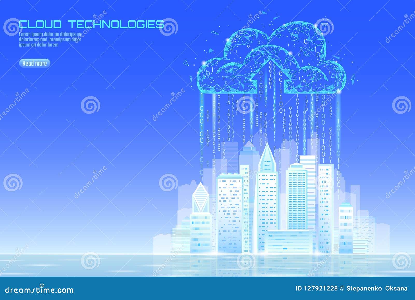 Arquitetura da cidade de computação da nuvem esperta da luz da cidade 3D Negócio futurista em linha do armazenamento de intercâmb