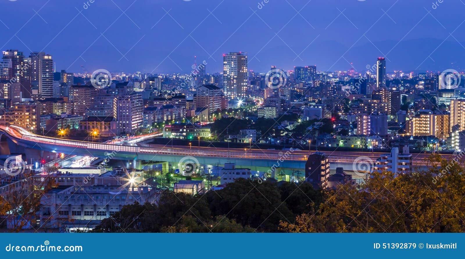 Arquitetura da cidade de Fukuoka em Kyushu norte, Japão
