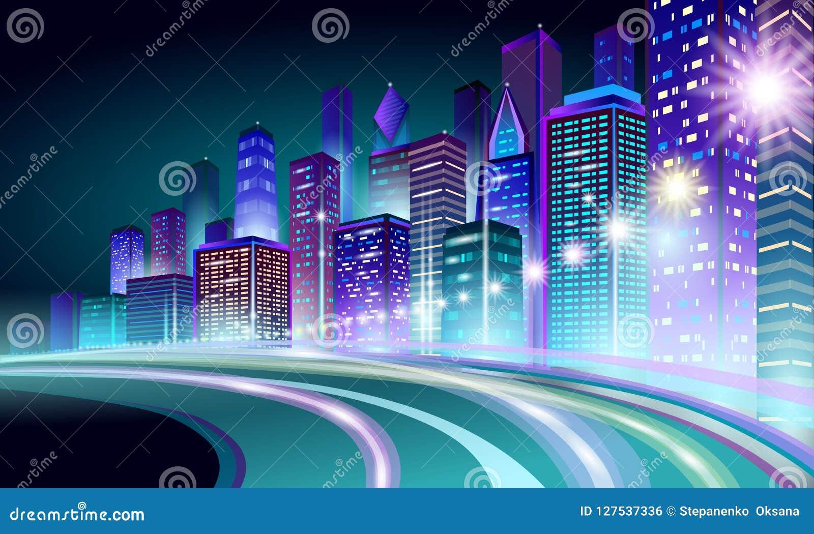 Arquitetura da cidade de incandescência do néon esperto da cidade 3D Conceito futurista do negócio da noite inteligente da rota d