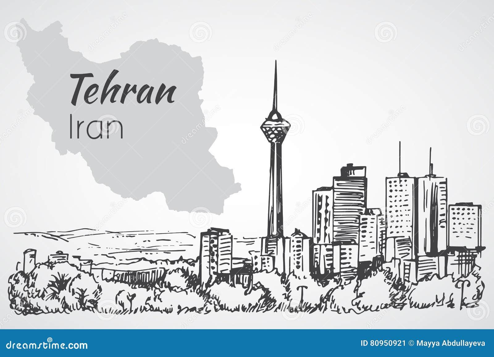 Arquitetura da cidade de Tehran - Irã esboço