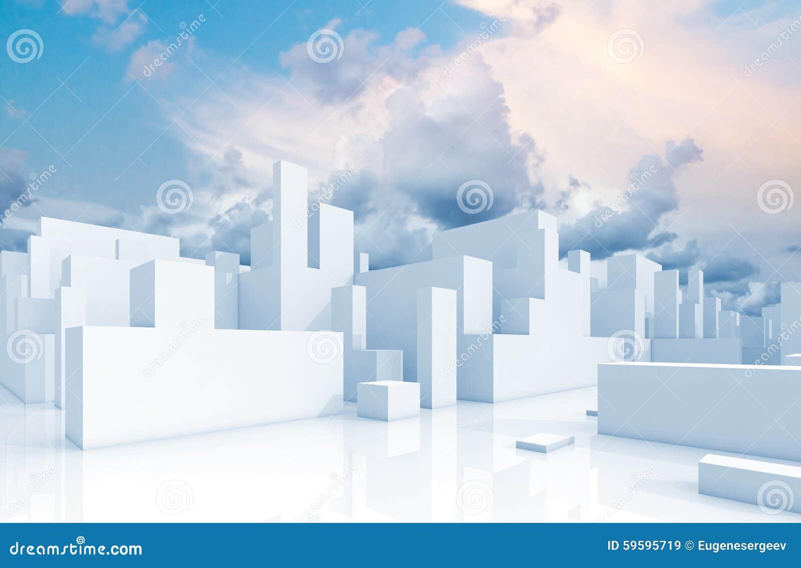 Arquitetura da cidade e céu brancos abstratos do diagrama esquemático 3d