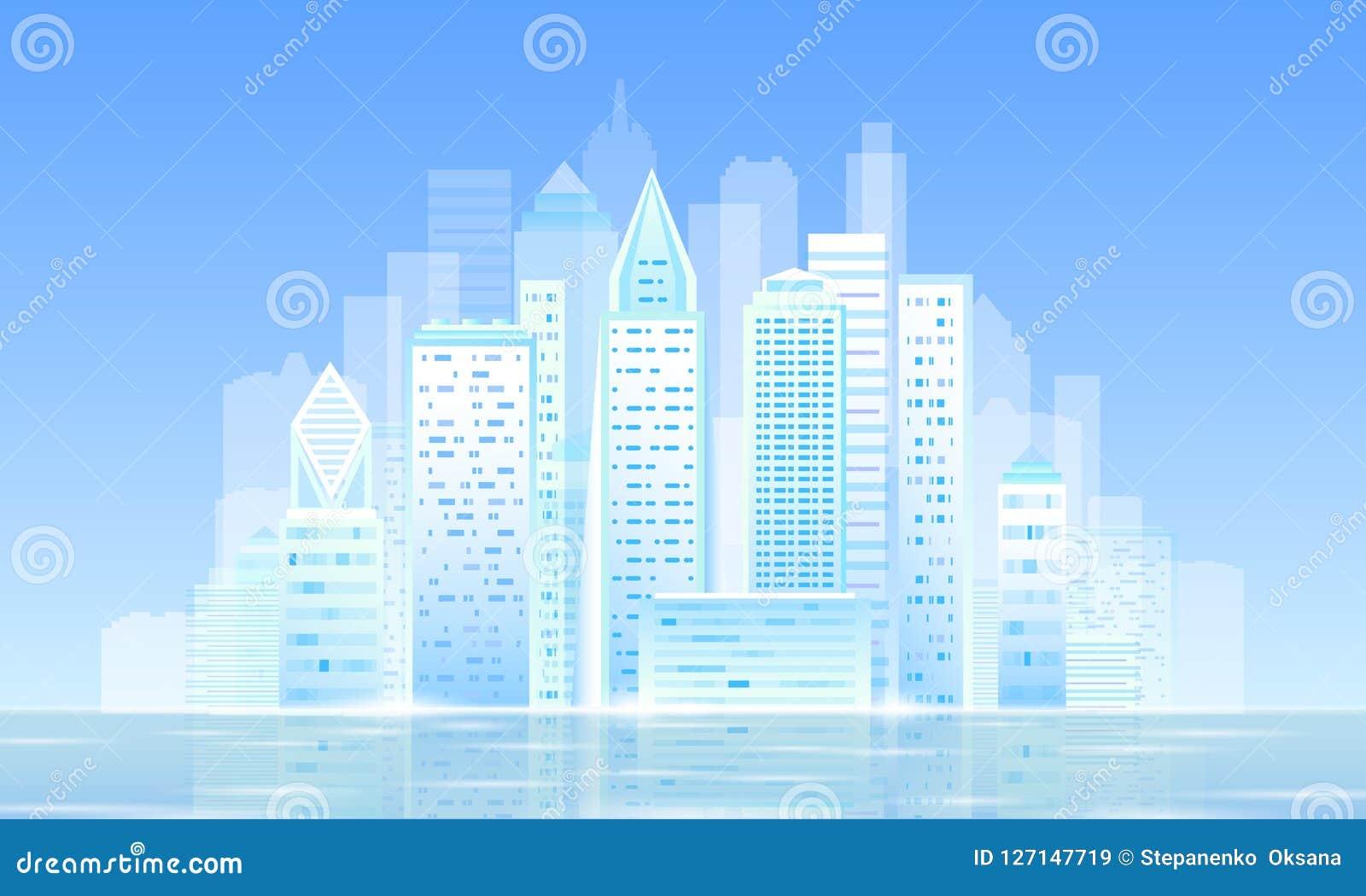 Arquitetura da cidade ensolarada clara esperta da manhã da cidade 3D Esperança futurista inteligente do negócio do céu azul do di