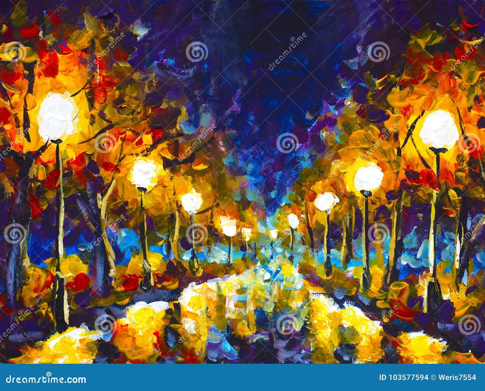 Arquitetura da cidade original do parque da noite da pintura a óleo do expressionismo, reflexão bonita no asfalto molhado na lona