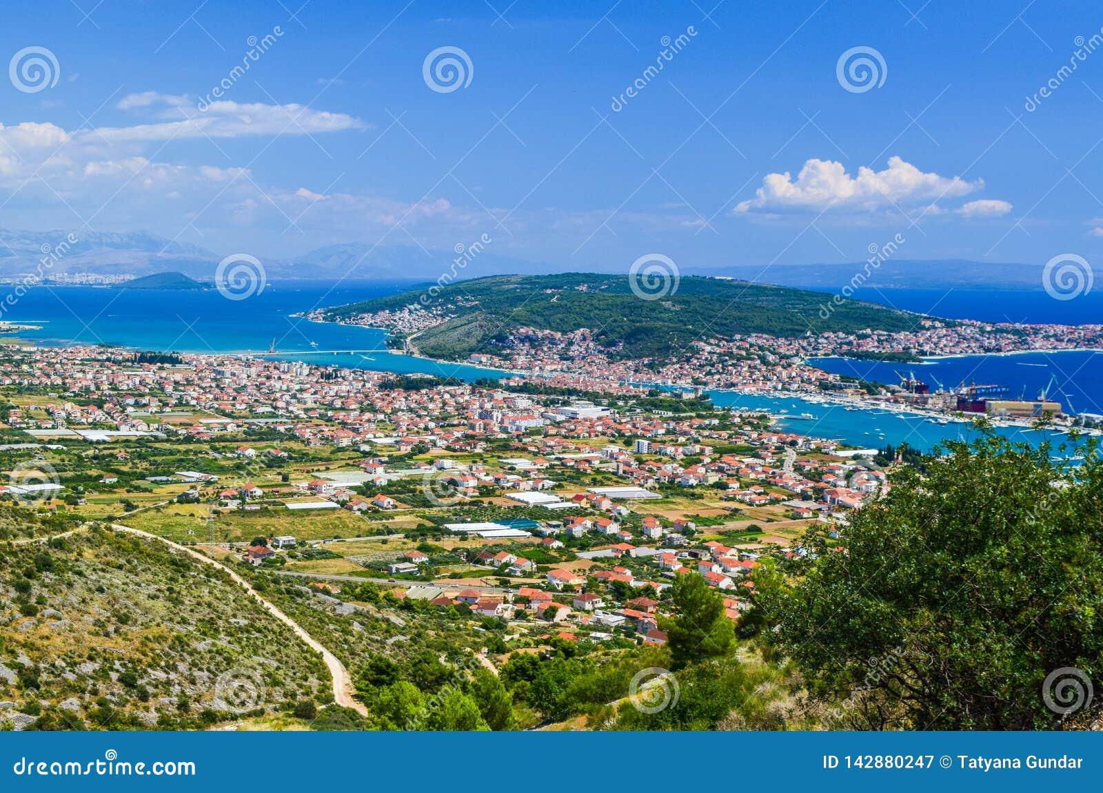 A arquitetura da cidade Trogir, Croácia