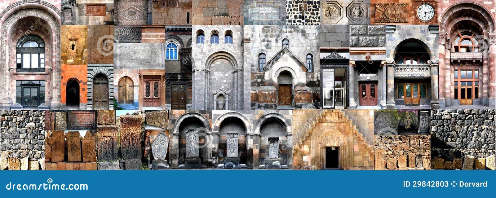 Arquitetura horizontal Arménia da colagem