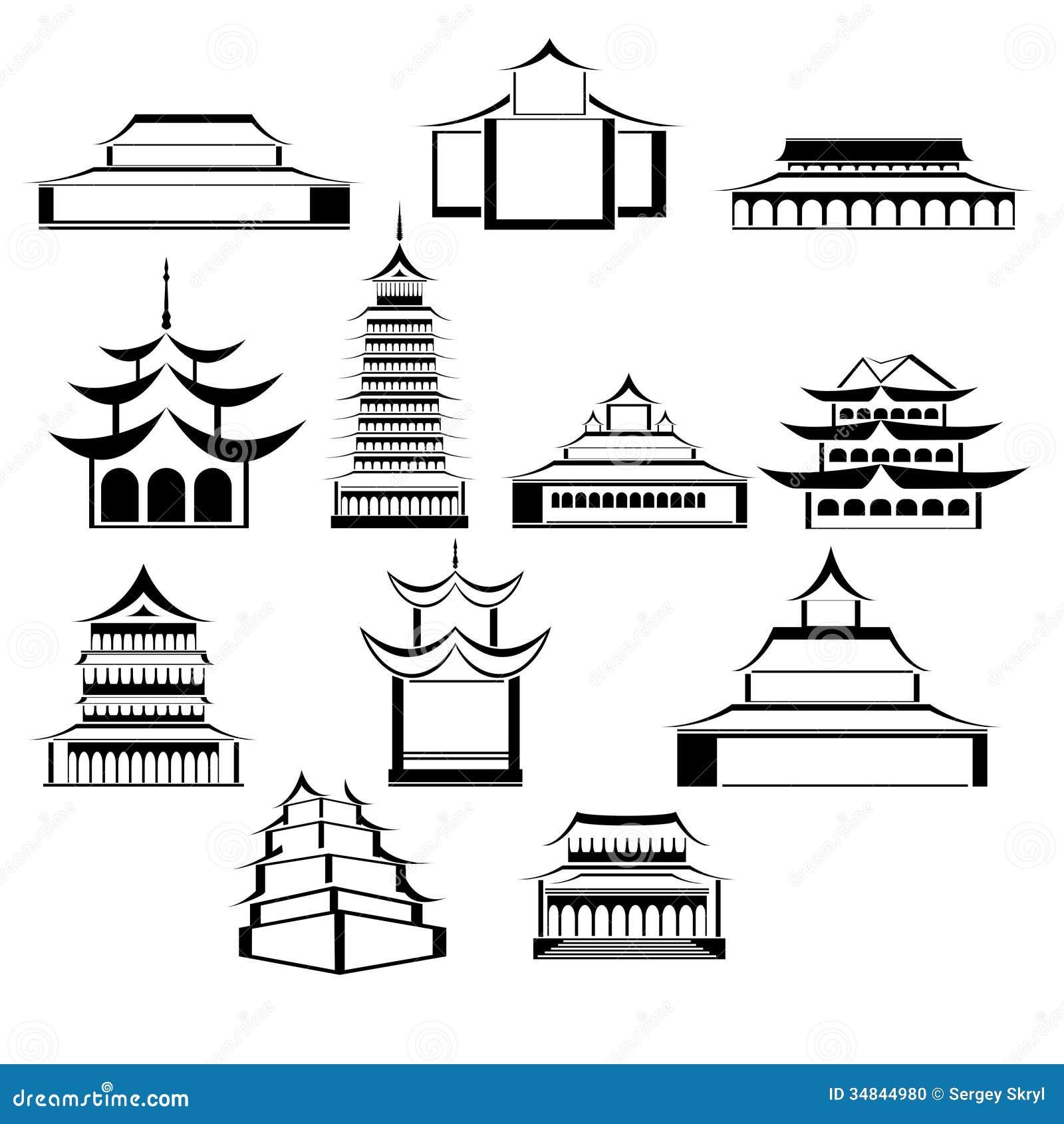 Arquitetura Oriental Ilustração Do Vetor. Ilustração De