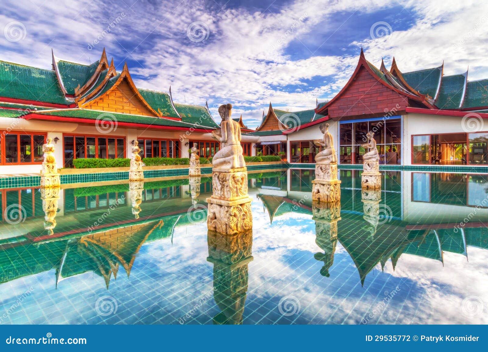 Arquitetura oriental do estilo em Tailândia
